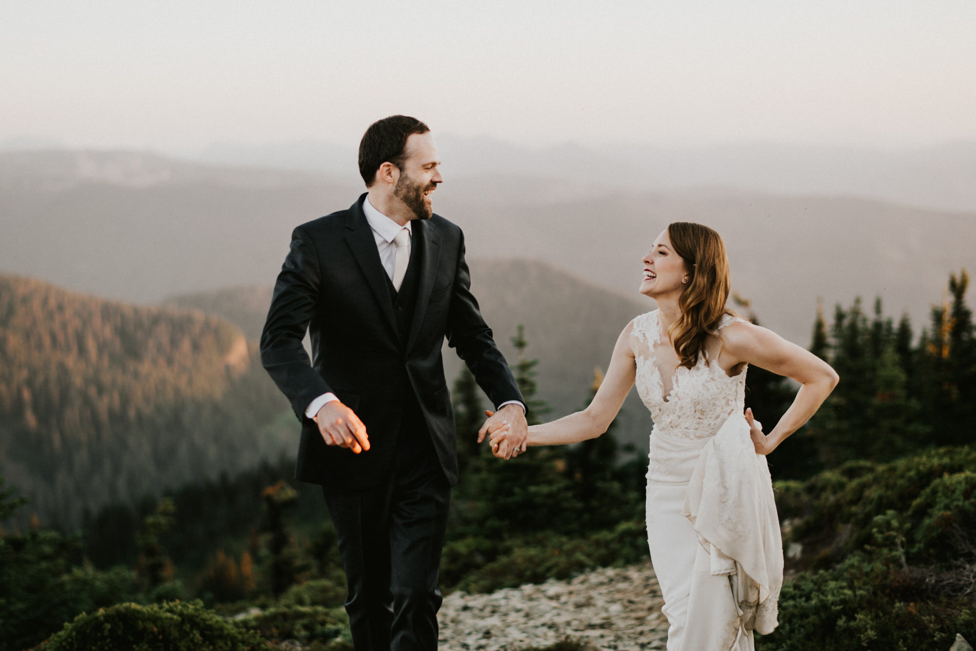 Happy couple elopement in North Cascades - Nick + Danee