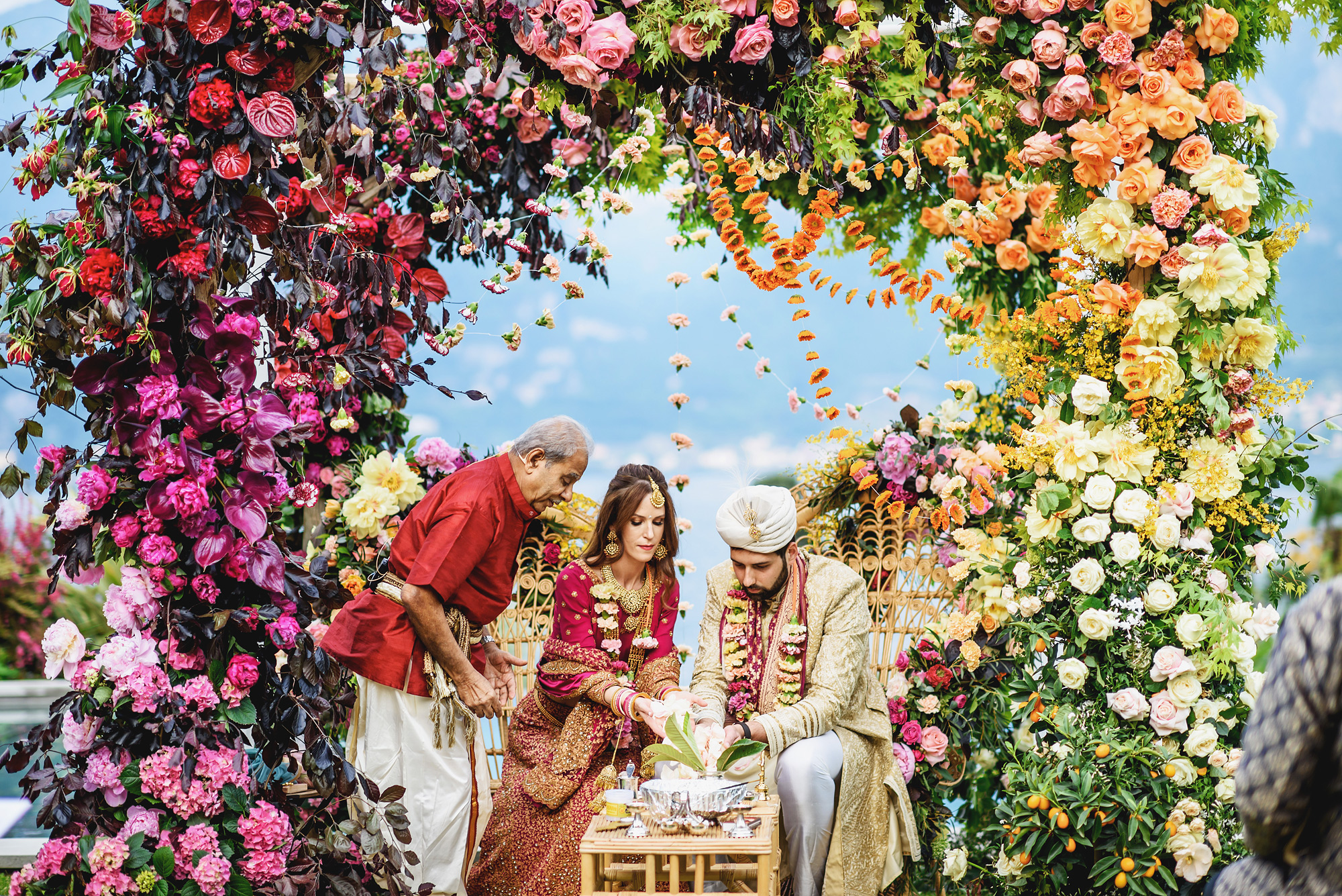 Elaborate floral arbor for Indian wedding by Ross Harvey