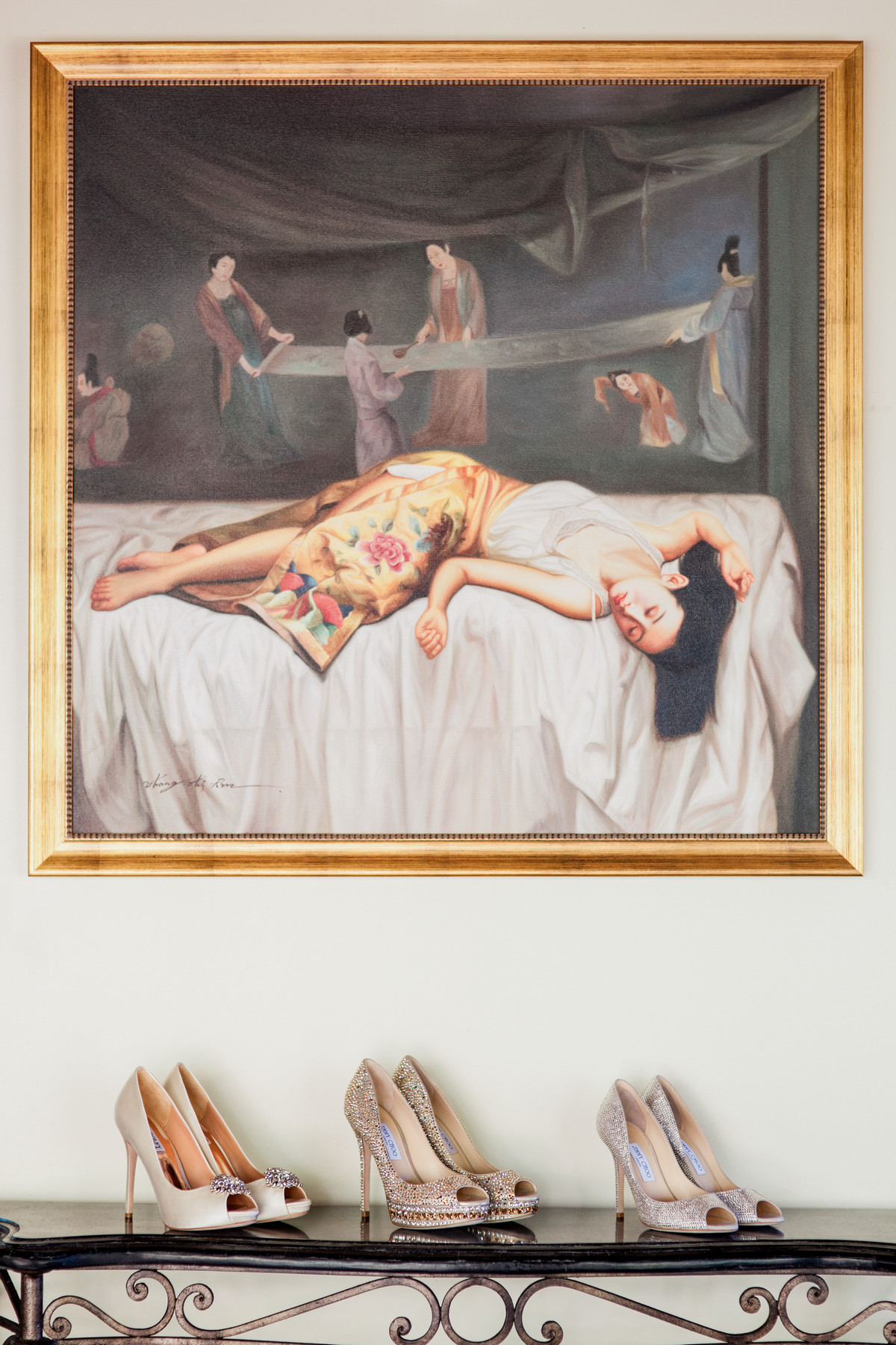 Jimmy Choo shoes under Japanese painting - photo by John and Joseph