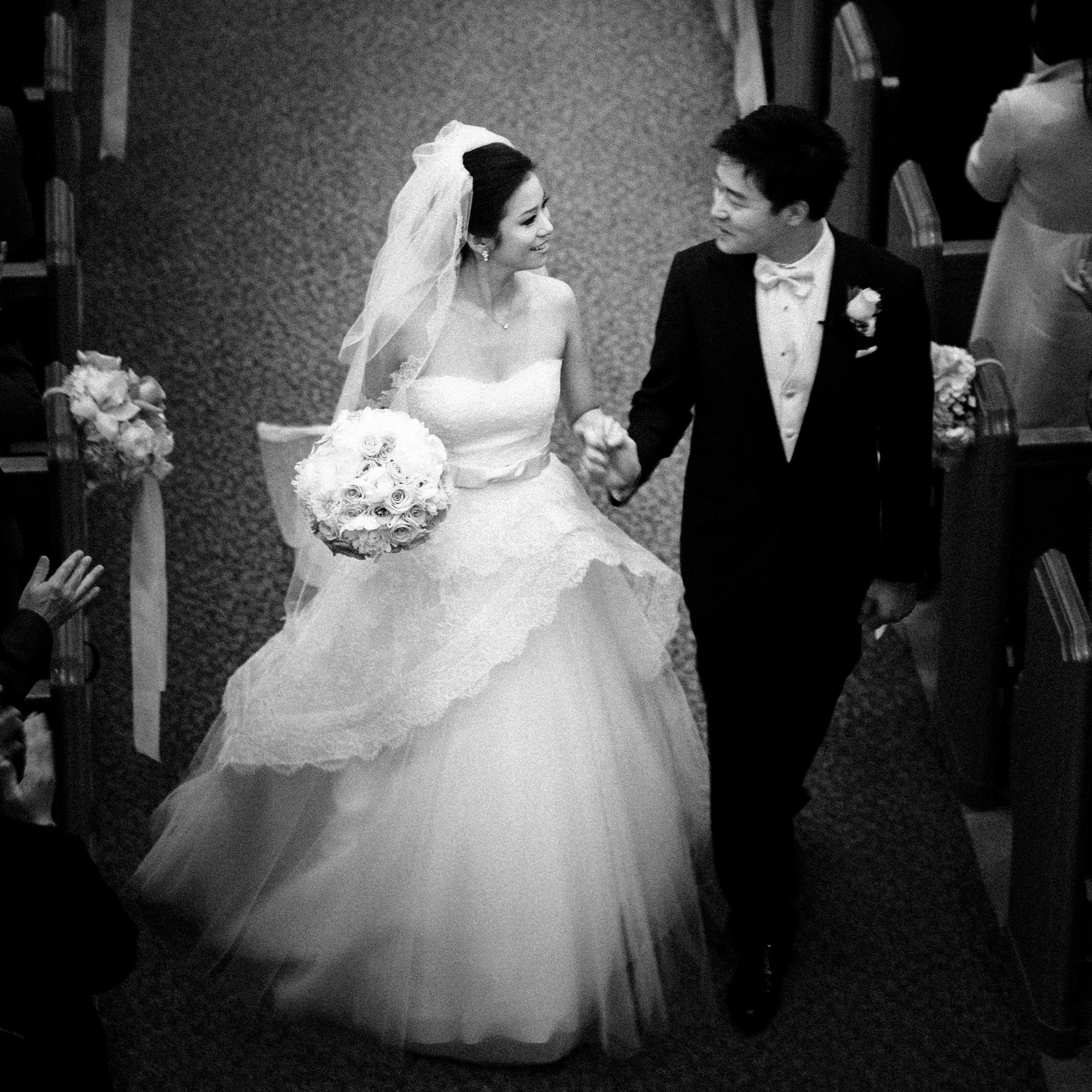 Just married couple leaving their church - John and Joseph Photography