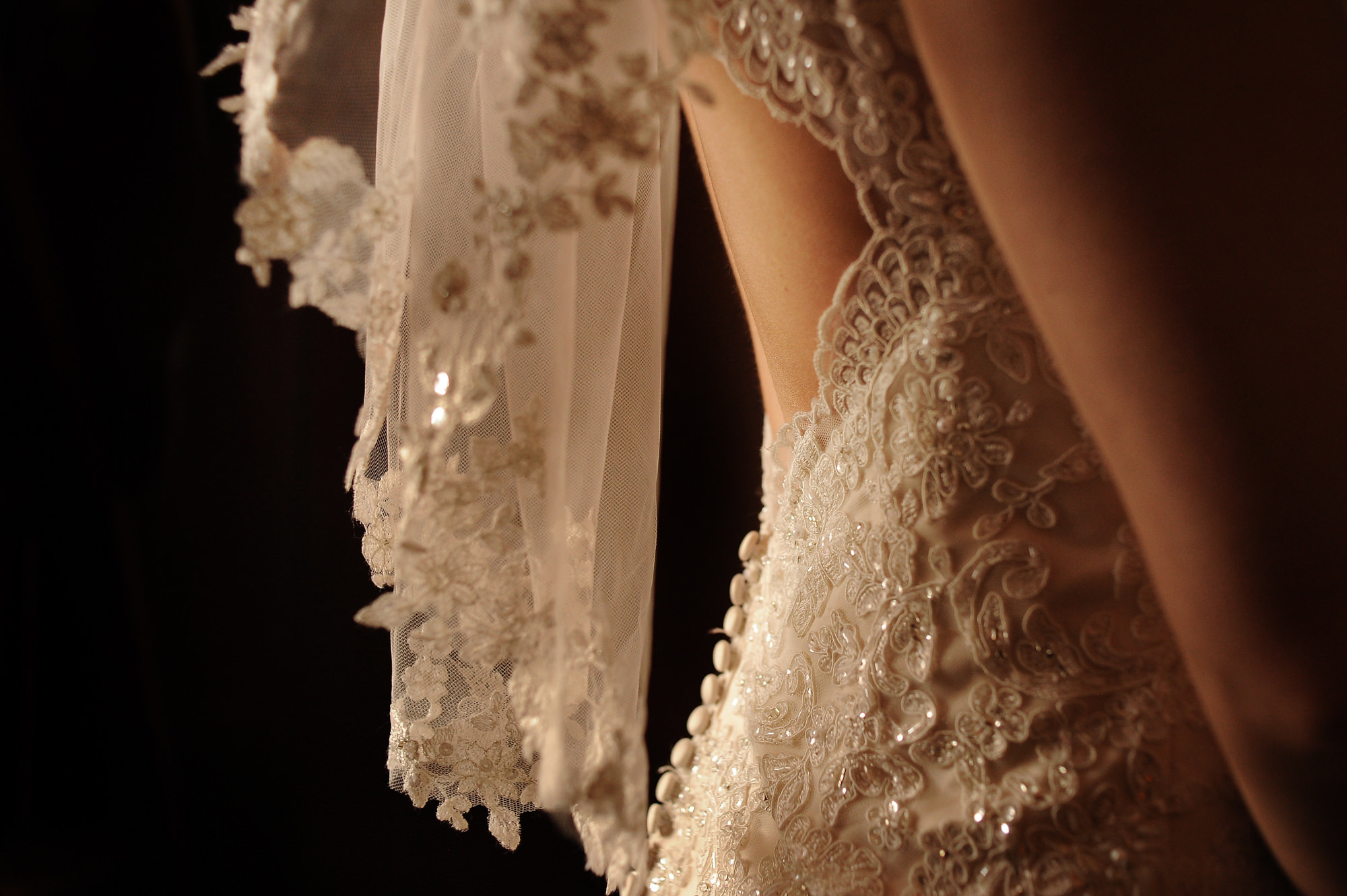 Detail of the back of lace beaded dress  - Daniel Aguilar Photographer