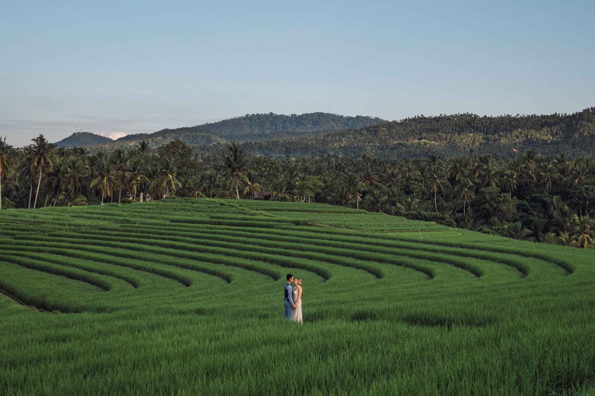Landscape portrait of couple in rice field photo by Nordica Photography