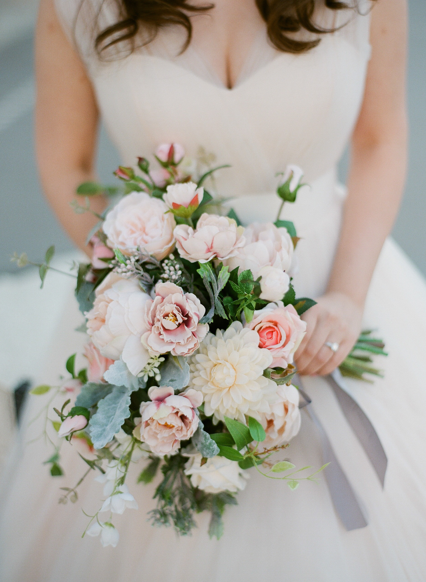 Large blush pink peony bouquet with roses and dahlias - Greg Finck Photography