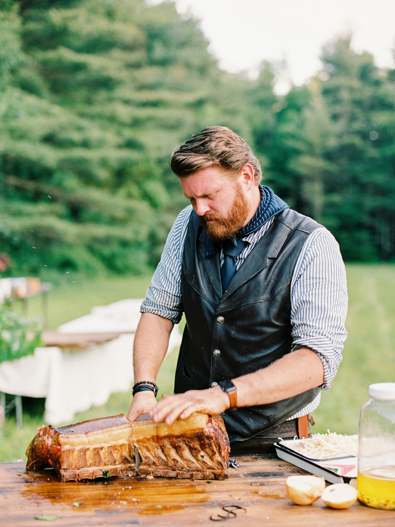 Chef cooking prime rib for reception - Photo by Benj Haisch - Seattle