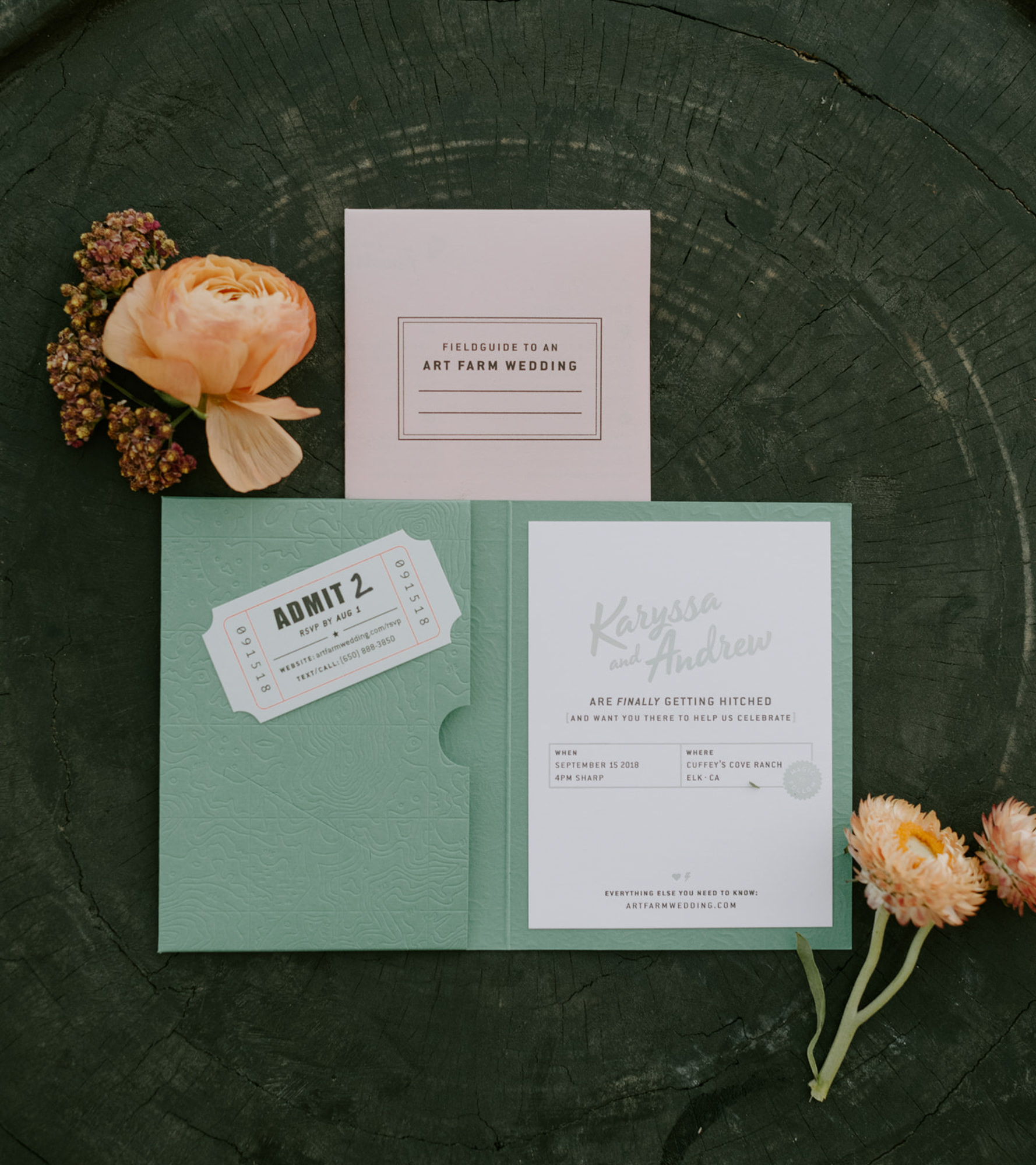 Mint green theatre inspired invitation - photo by Kristen Marie Parker