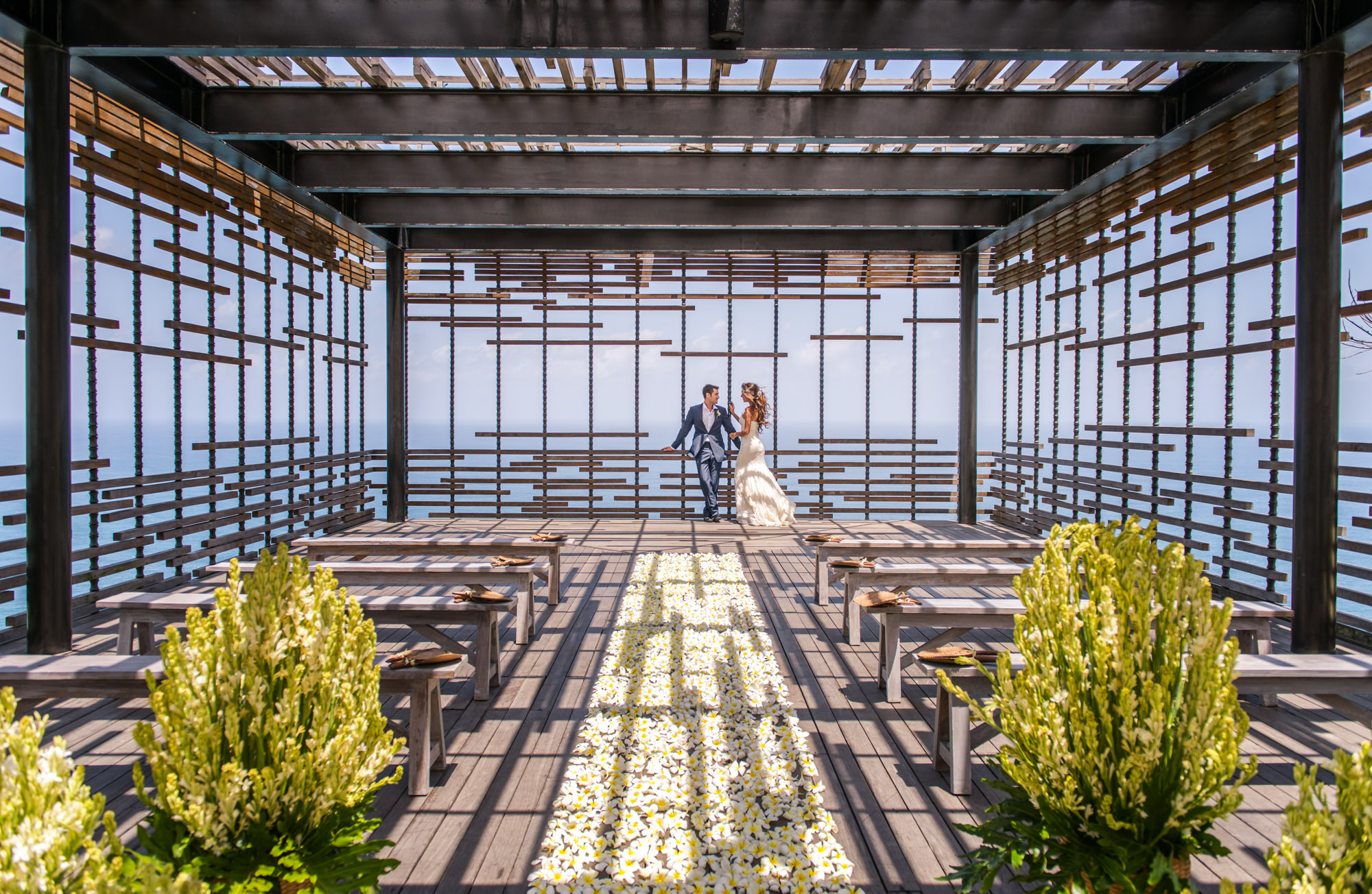 Couple in modern ceremony site with rose aisle runner -  photo by Marcus Bell