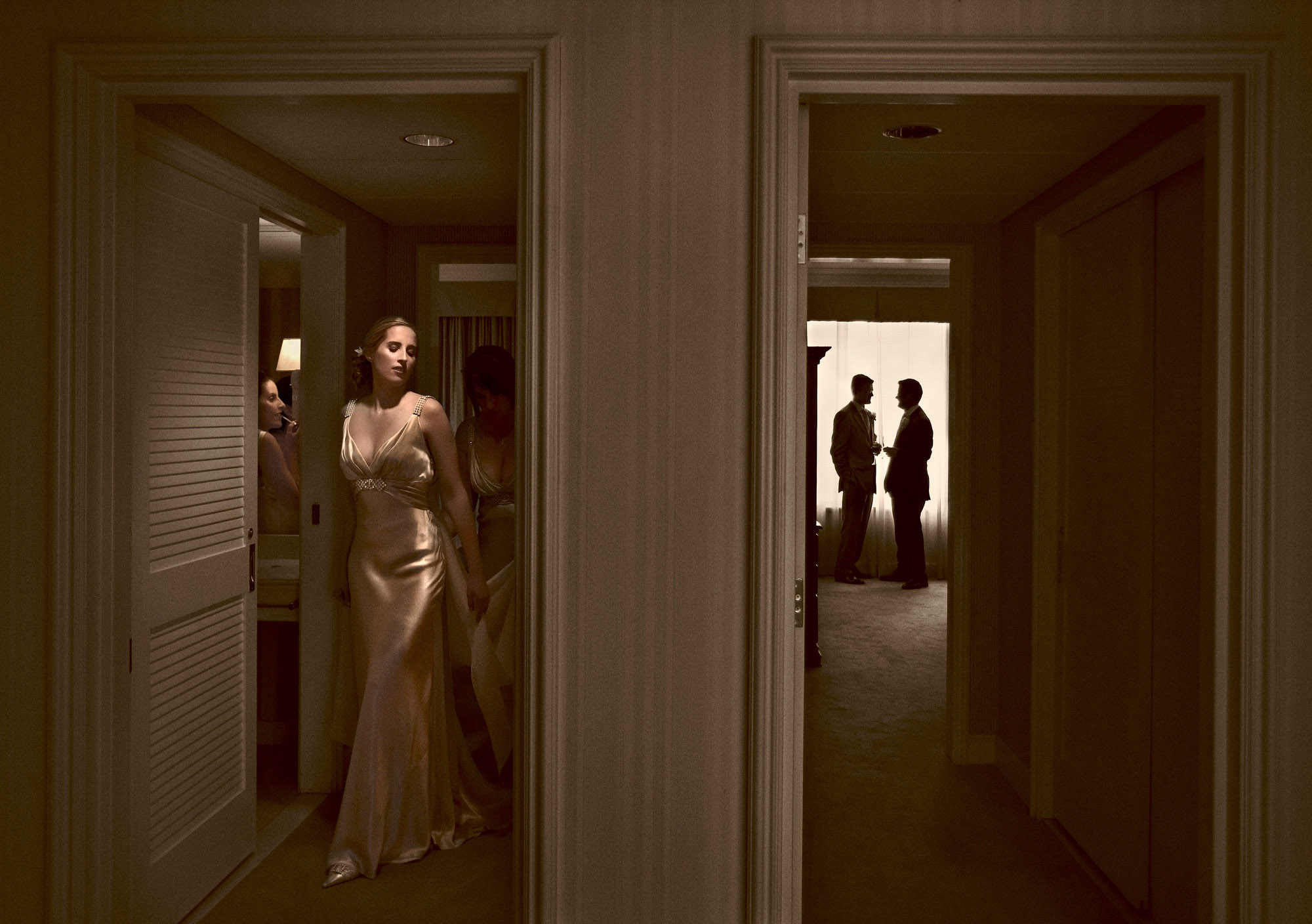 Elegant split story getting ready photo by Jerry Ghionis luxury wedding photographer