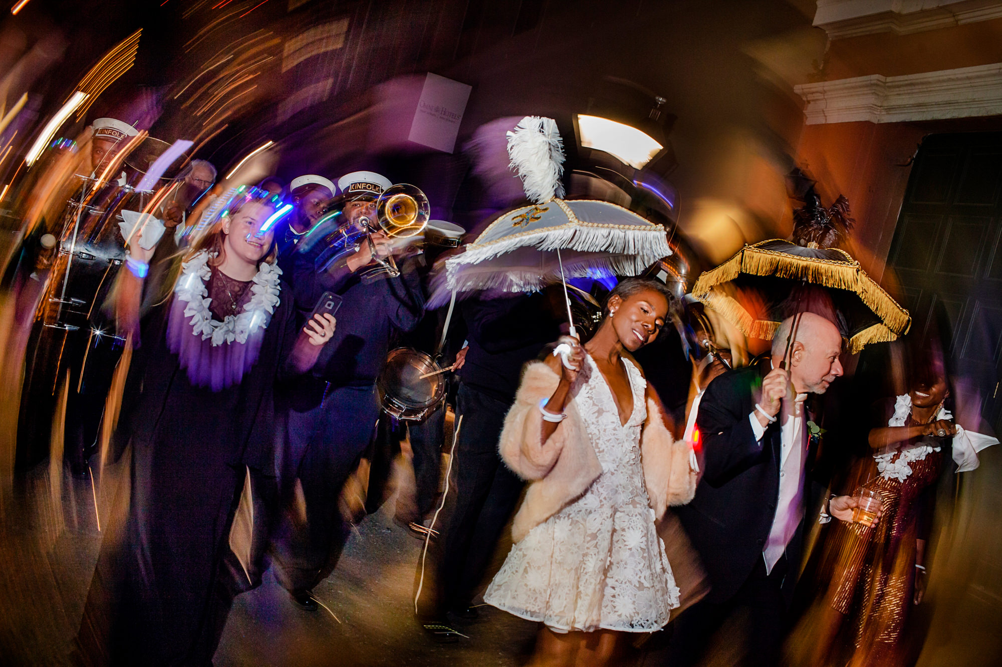 Swirling photo of bridal parade in New Orleans - photo by Chrisman Studios
