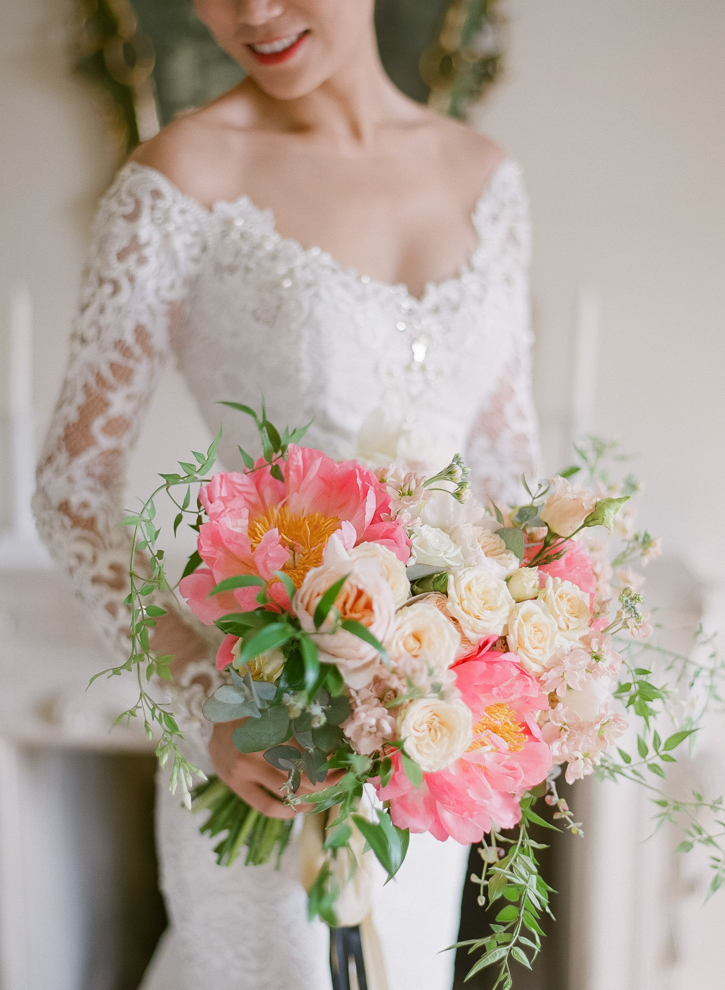 Pink and white peony bouquet with antique roses - Greg Finck Photography