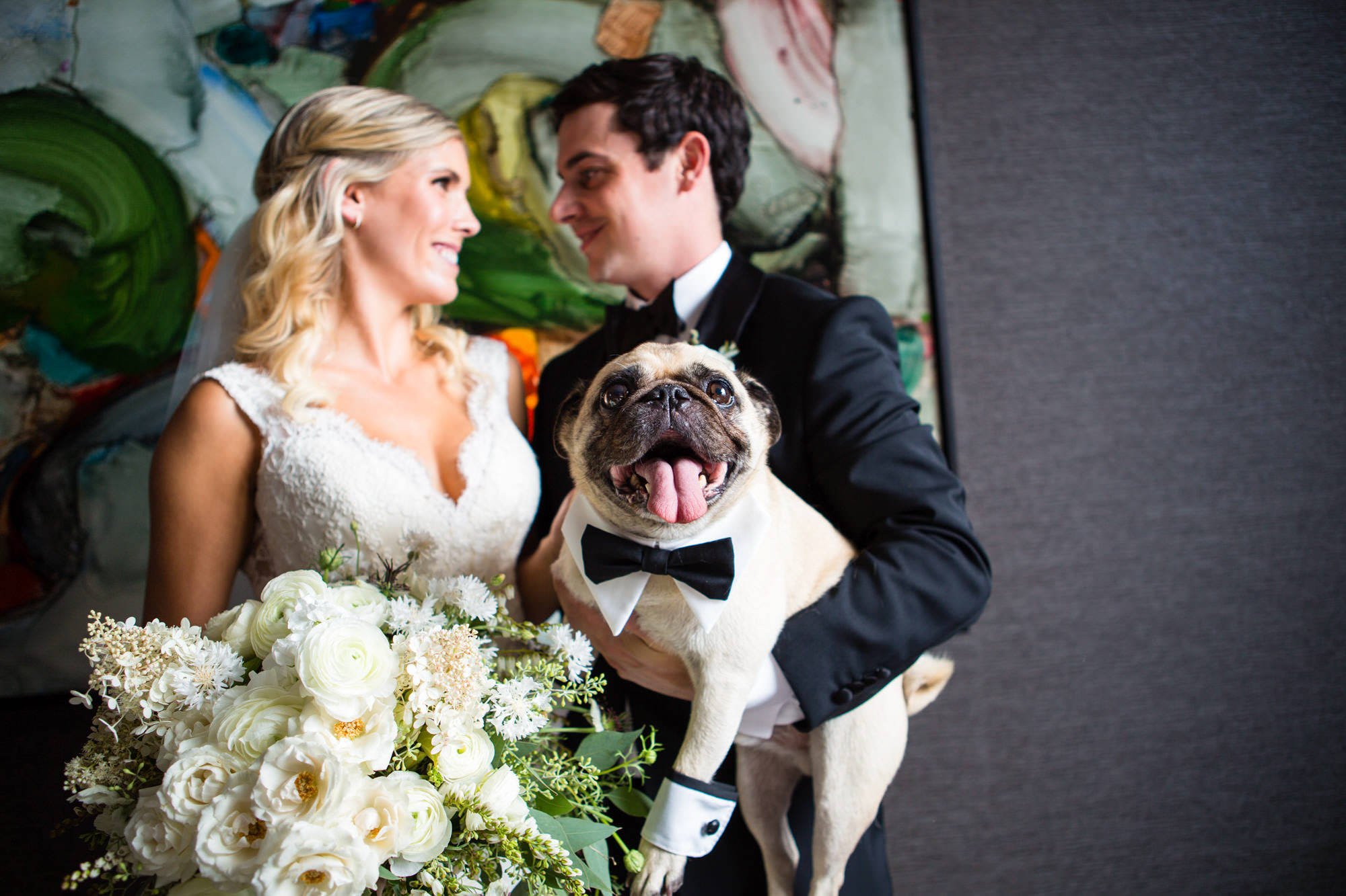 Couple with pug in bowtie  - La Vie Photography