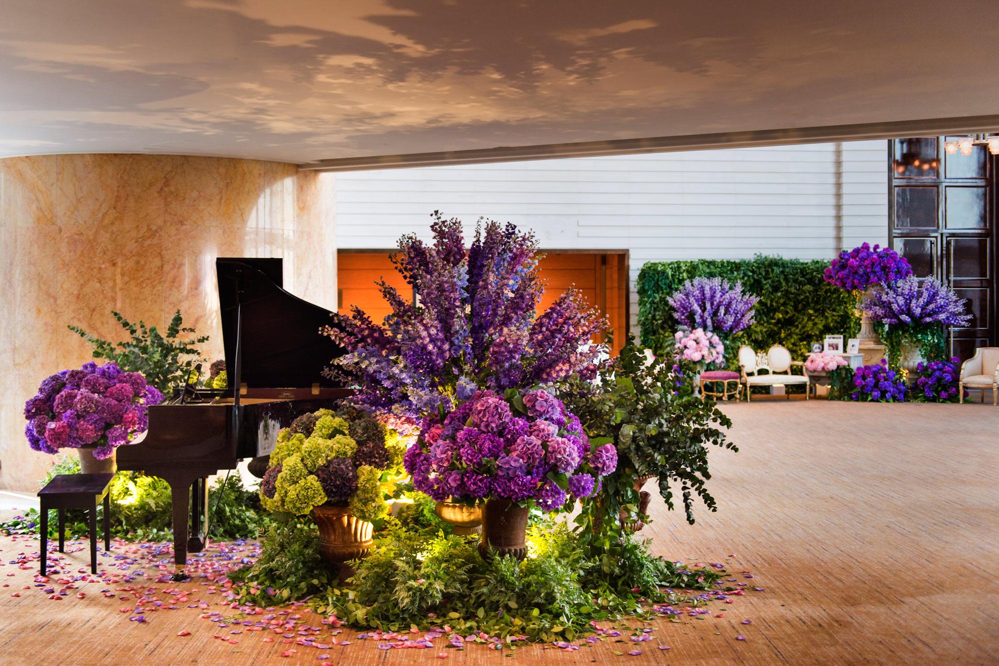 Purple hydrangea and delphinium floral -  Studio Impressions Photography