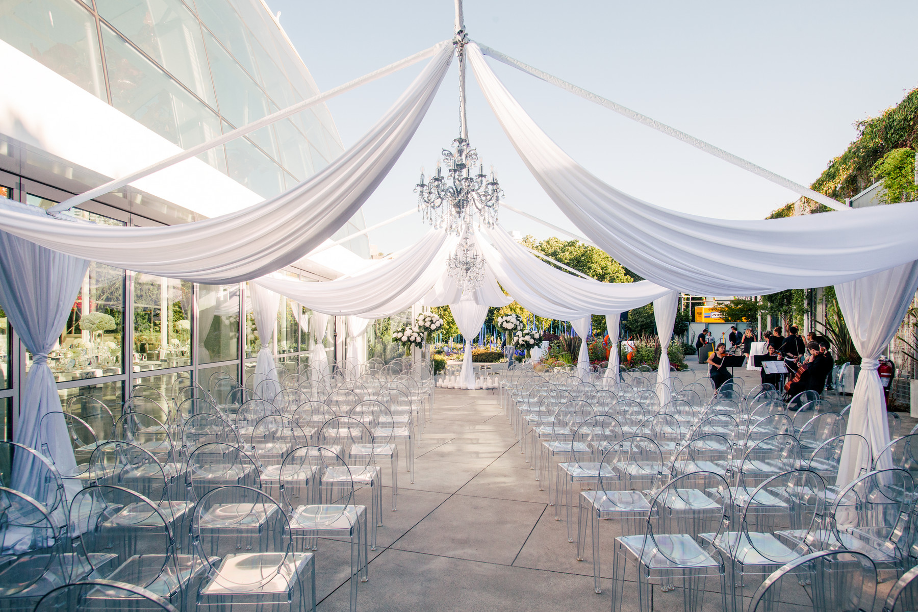 Tented reception at Chihuly Garden Seattle - photo by John and Joseph Photography