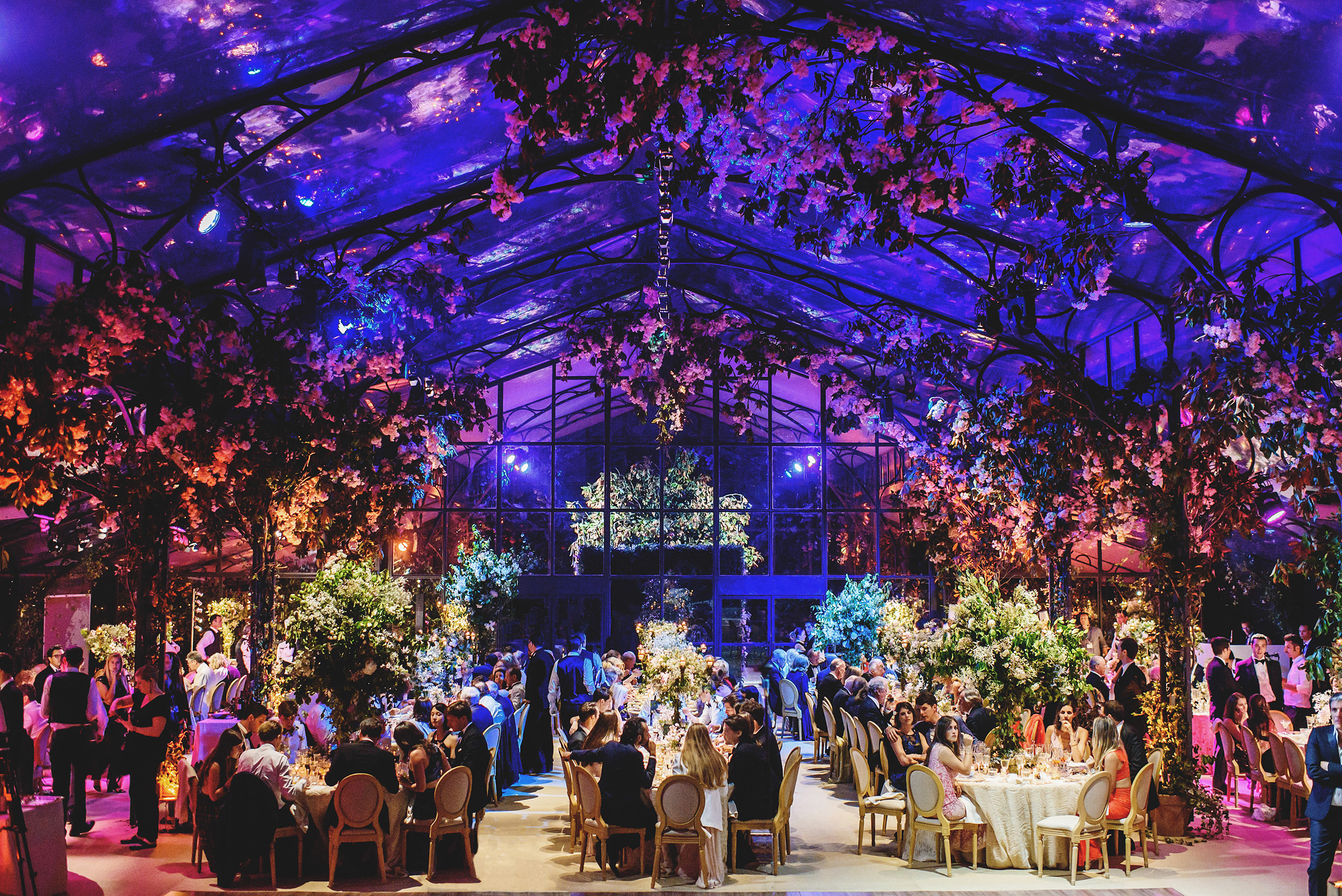Spectacular lighting at luxury wedding reception by Ross Harvey
