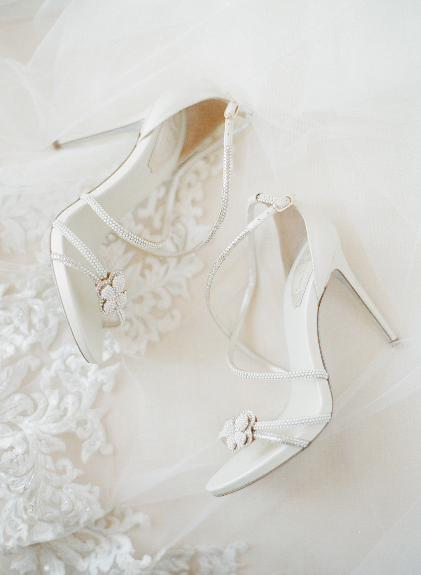 Rena Caovilla white sandals with beaded flowers - Greg Finck Photography