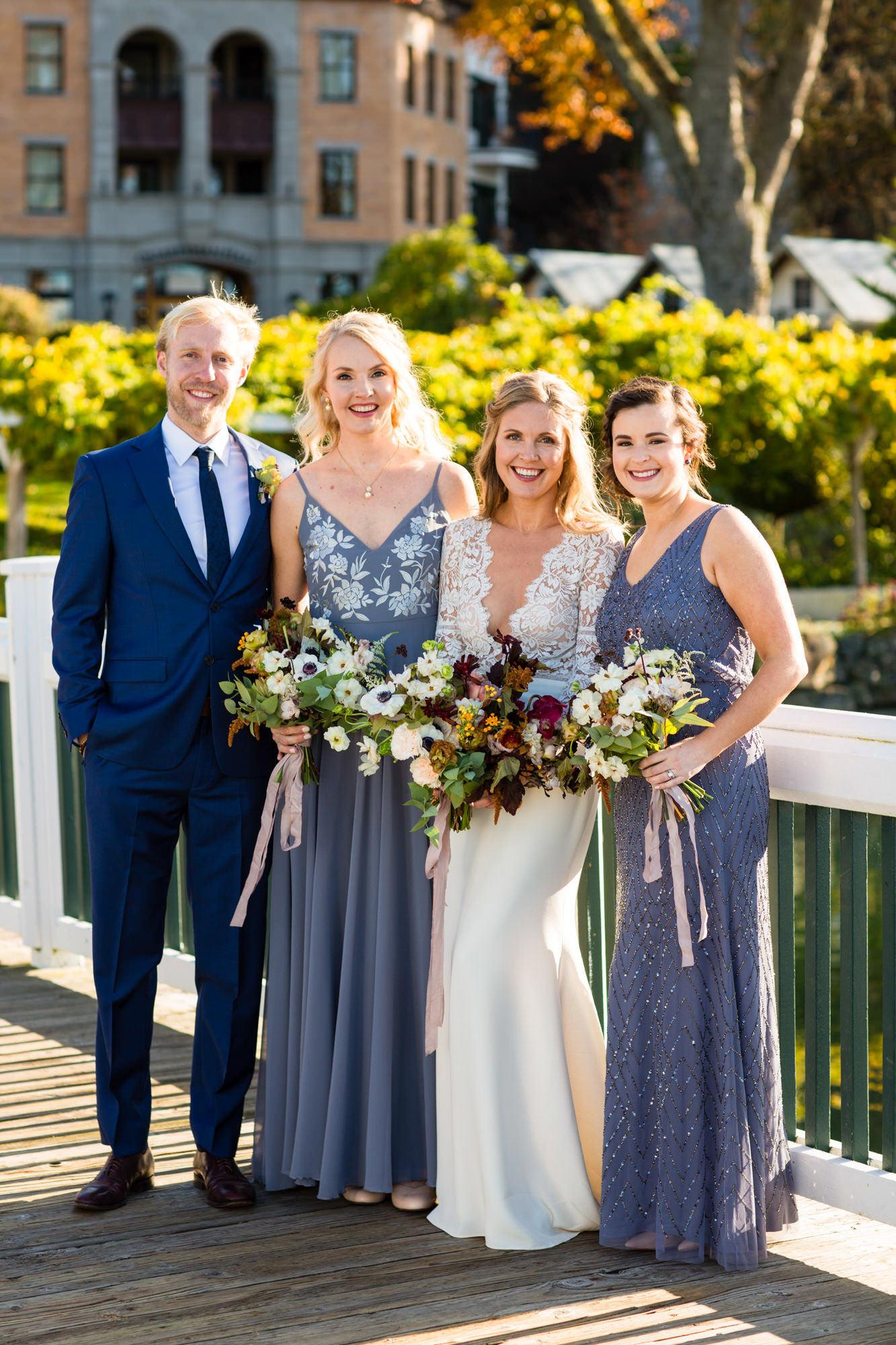 Roche Harbor wedding bridal party in summer attire  - La Vie Photography