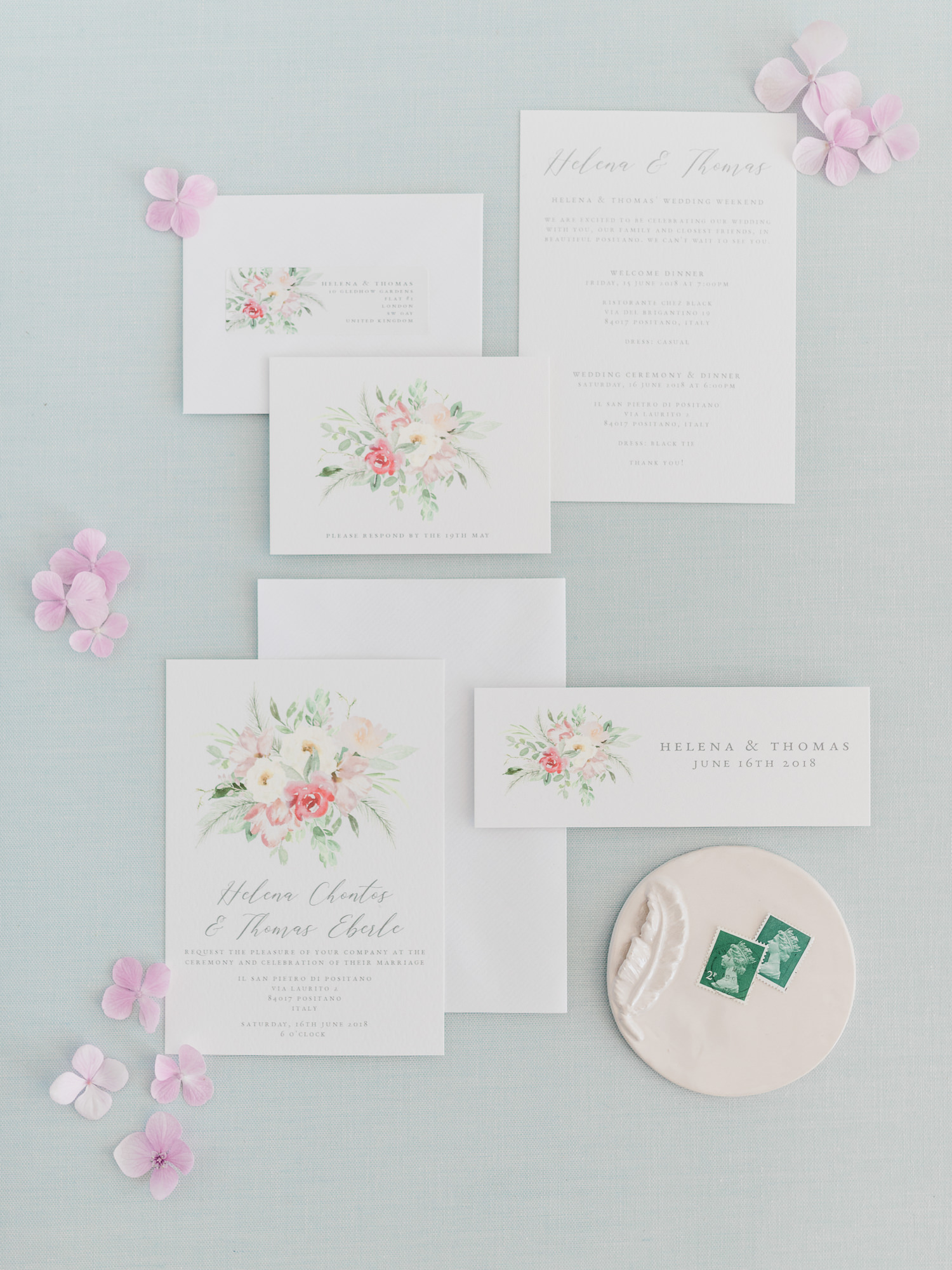 Floral wedding invitations - photo by Gianluca Adovasio Photography