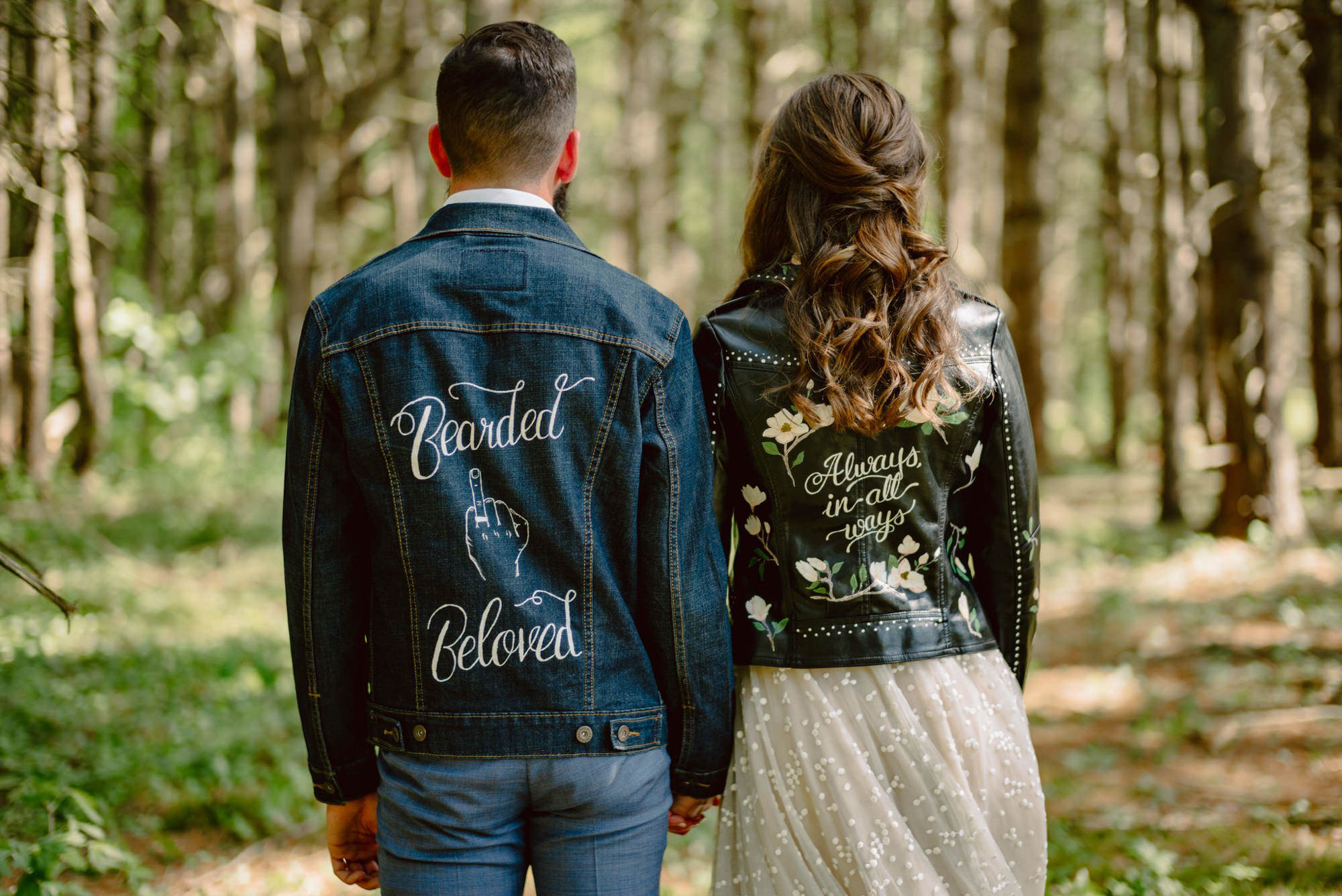 Denim and leather personalized wedding jackets - photo by Benj Haisch