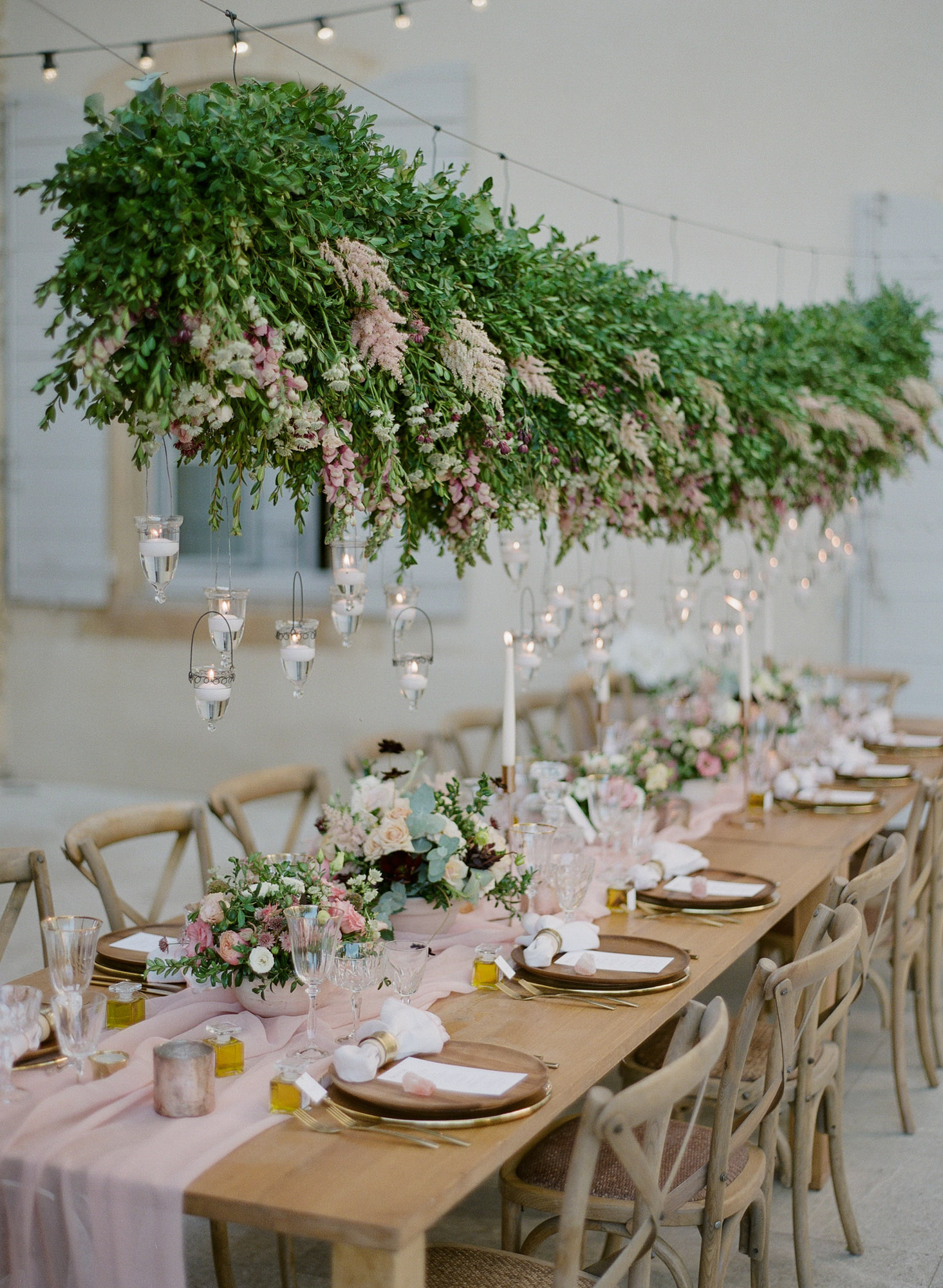 Reception with hanging astilbe and snapdragon candlelight chandelier - Greg Finck Photography