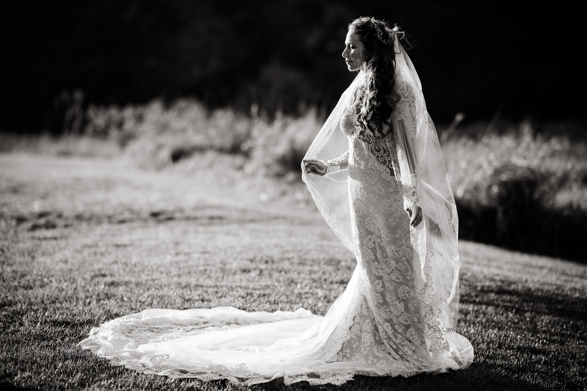 Sepia bride wearing lace grown in field photo by Cliff Mautner