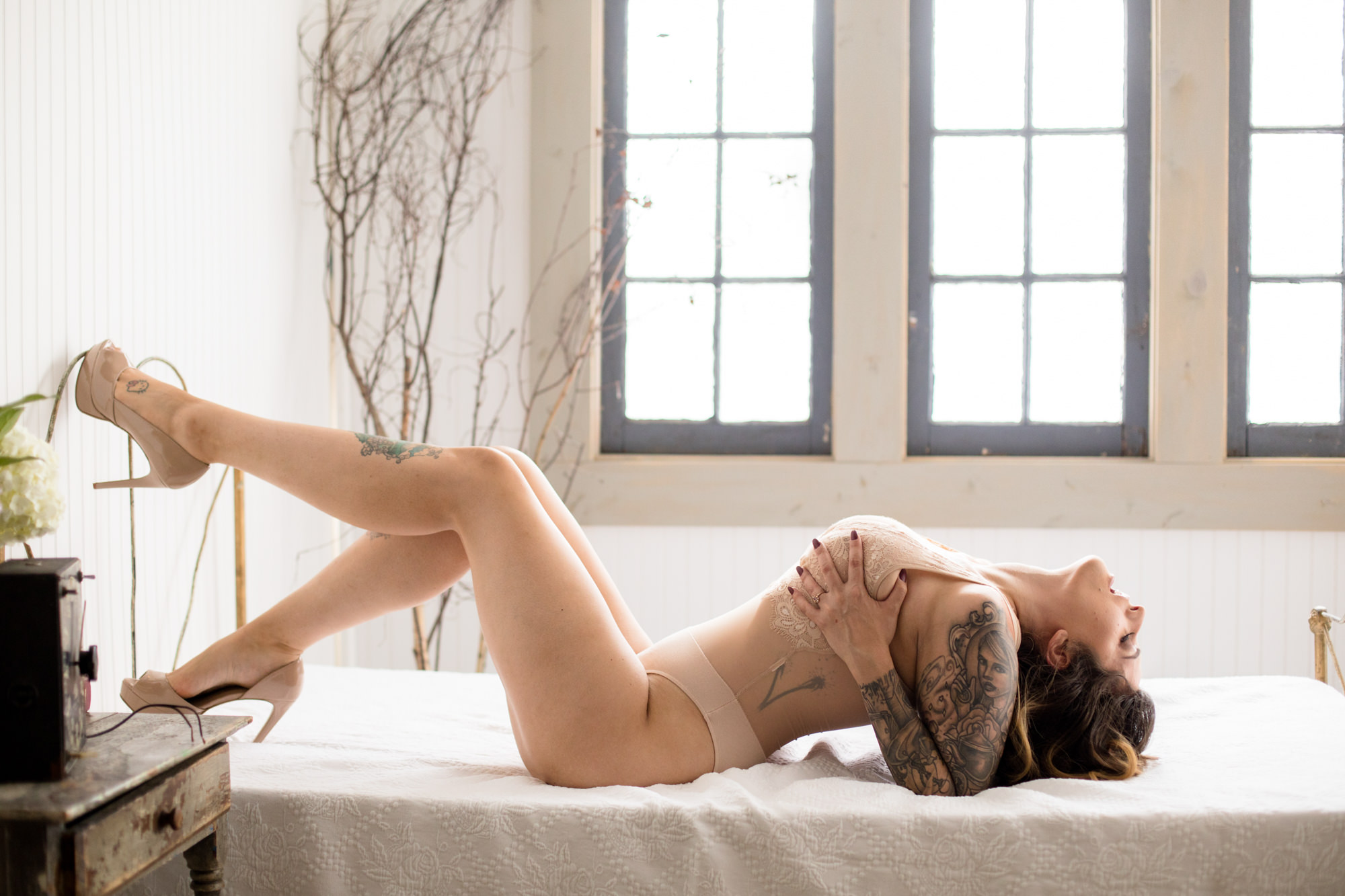 Boudoir photo bride in nude bra and pumps - Jessica Hill Photography