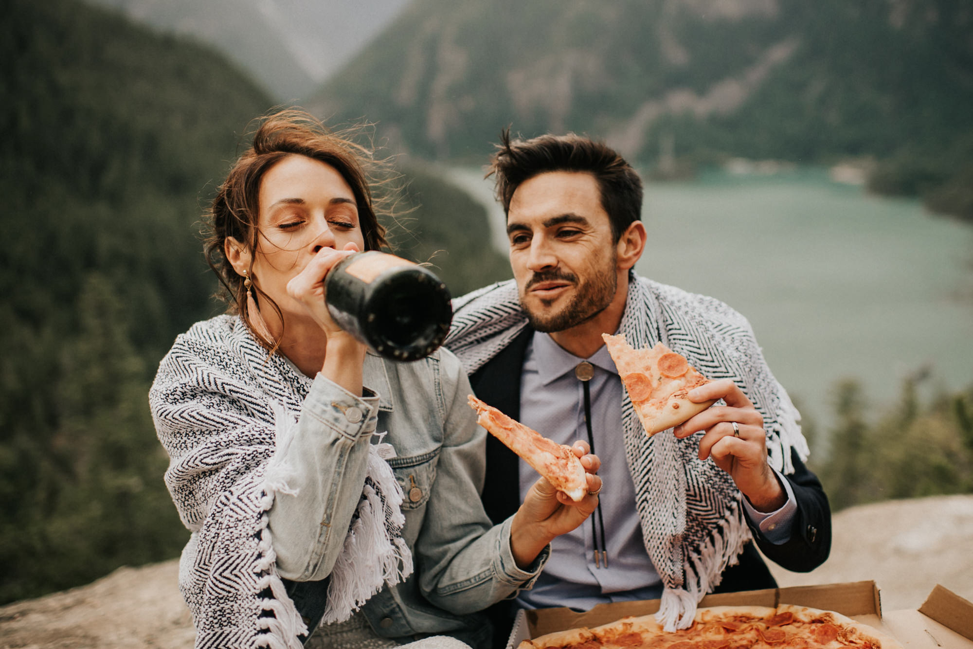 Champagne toast and pizza on North cascades elopement -  Nick + Danee