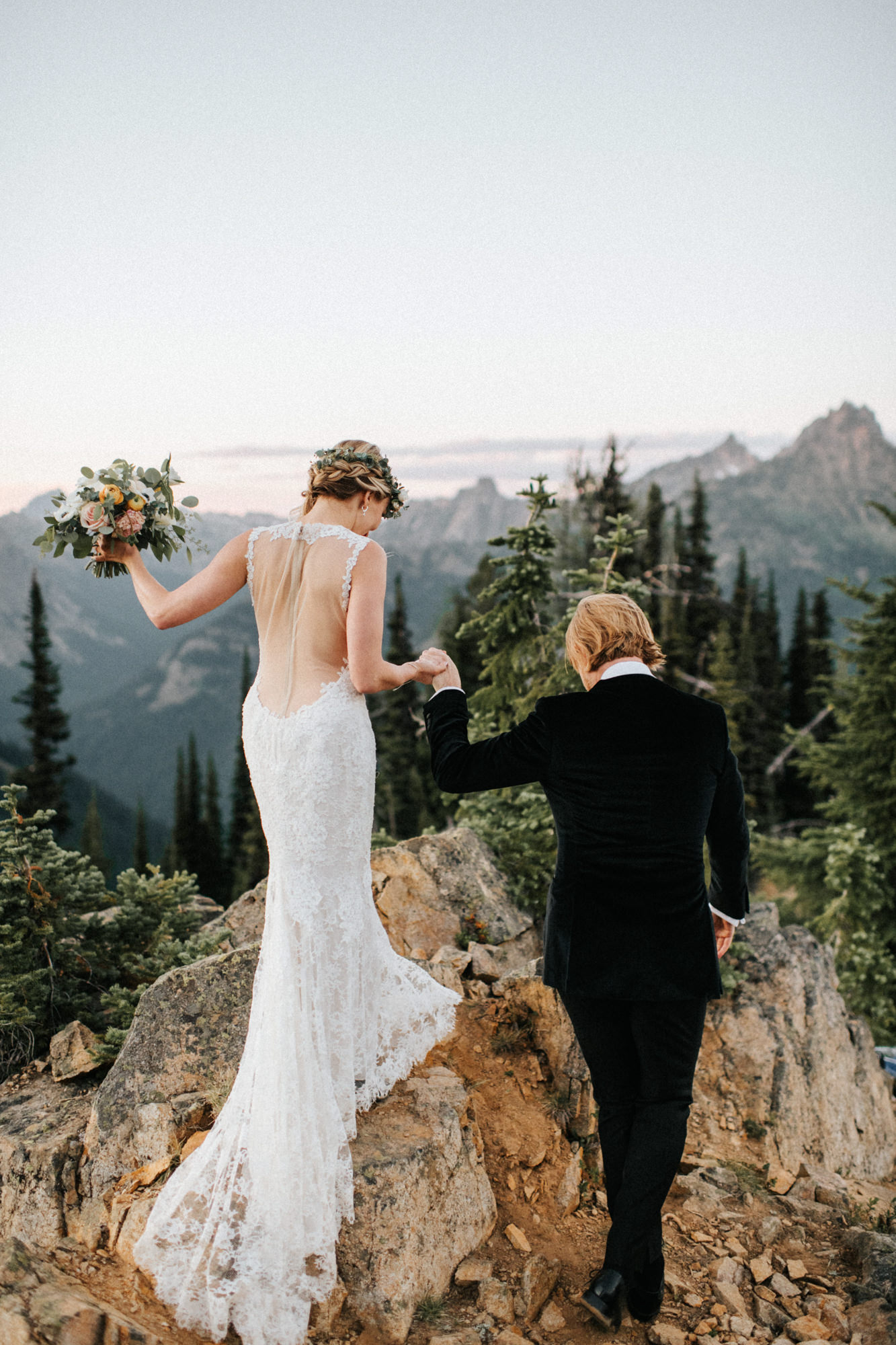 PNW boho mountain elopement sheer back lace mermaid gown  - photo by Nick + Danee