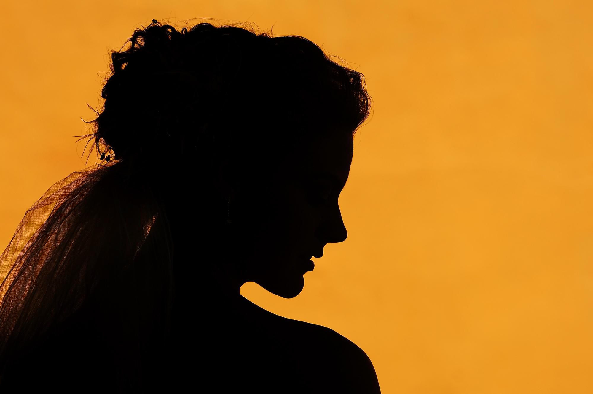 Silhouette of bride's profile  - Daniel Aguilar Photographer