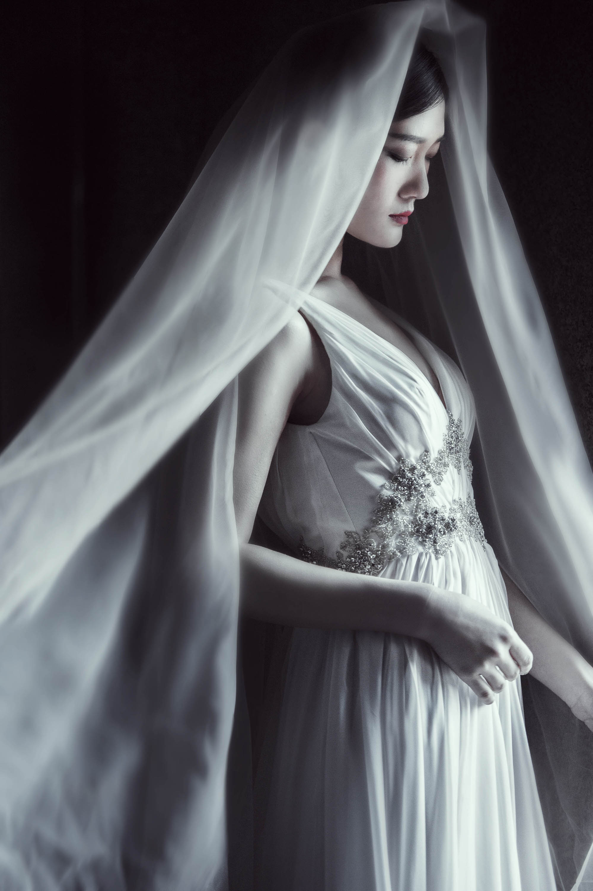 Moody portrait of bride in veil and jeweled gown, by CM Leung