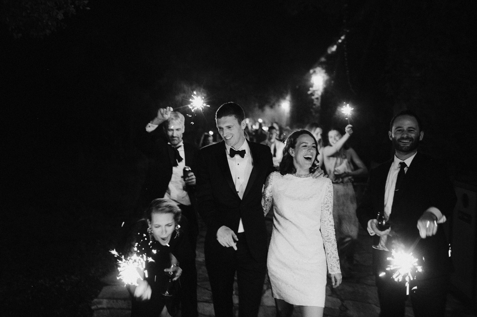 Black and white sparkler exit photo by James Moes