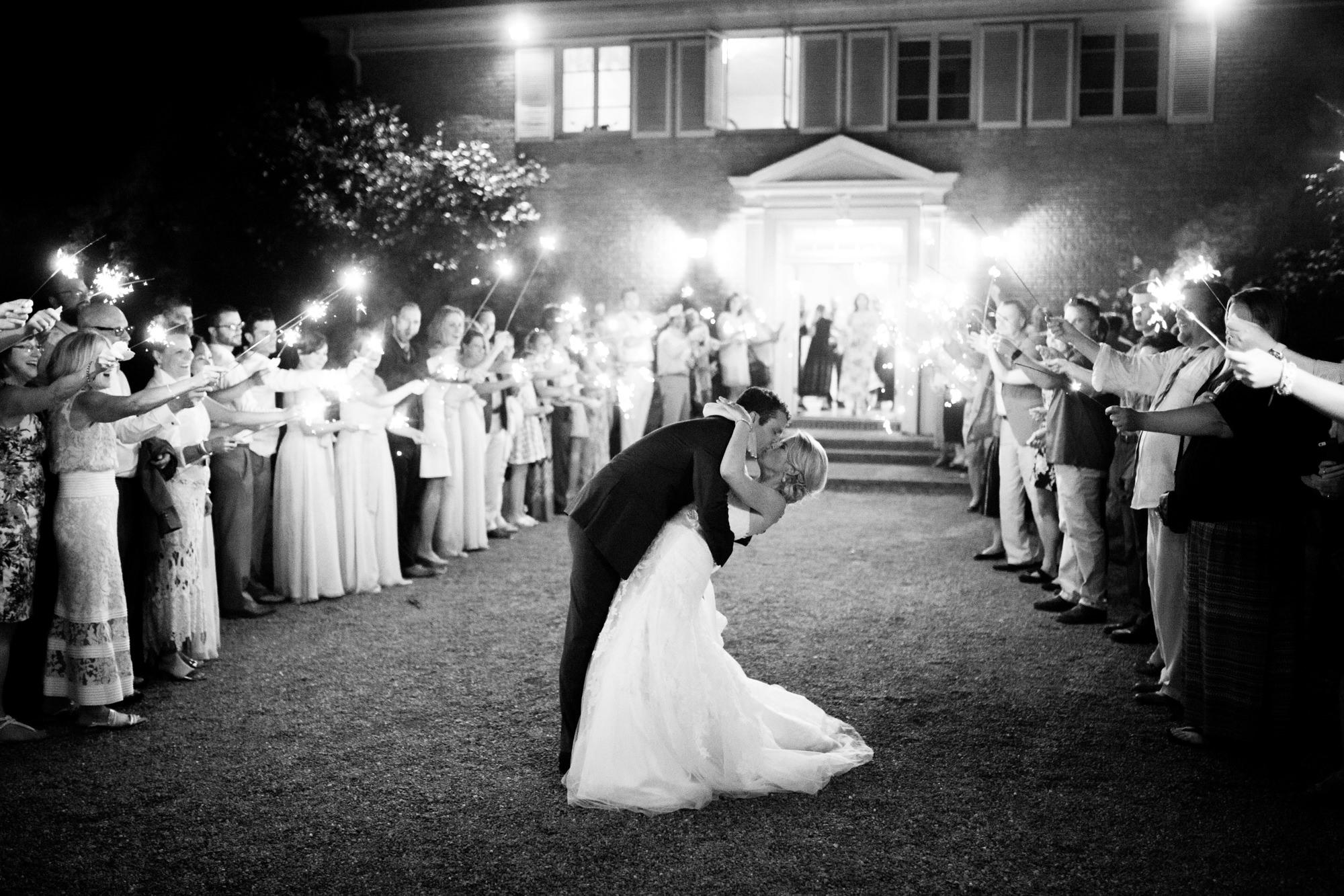 Sparkler recessional kiss - photo by La Vie