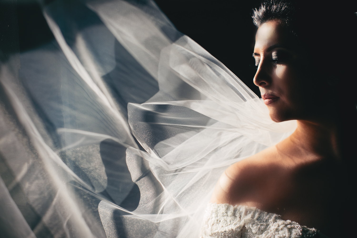 Elegant portrait of bride in long veil and dramatic side lighting, by Callaway Gable