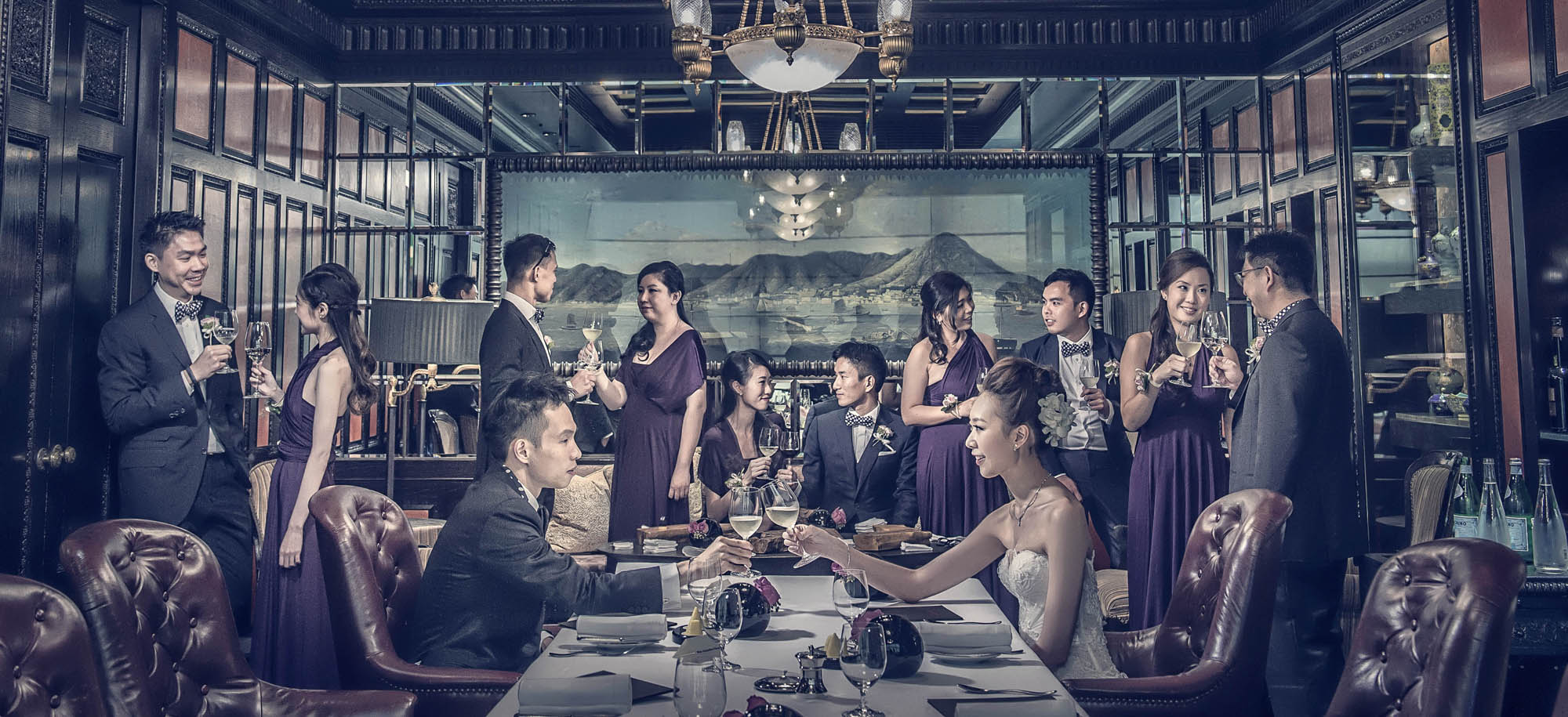 Wedding party in a stylized restaurant shot, by CM Leung