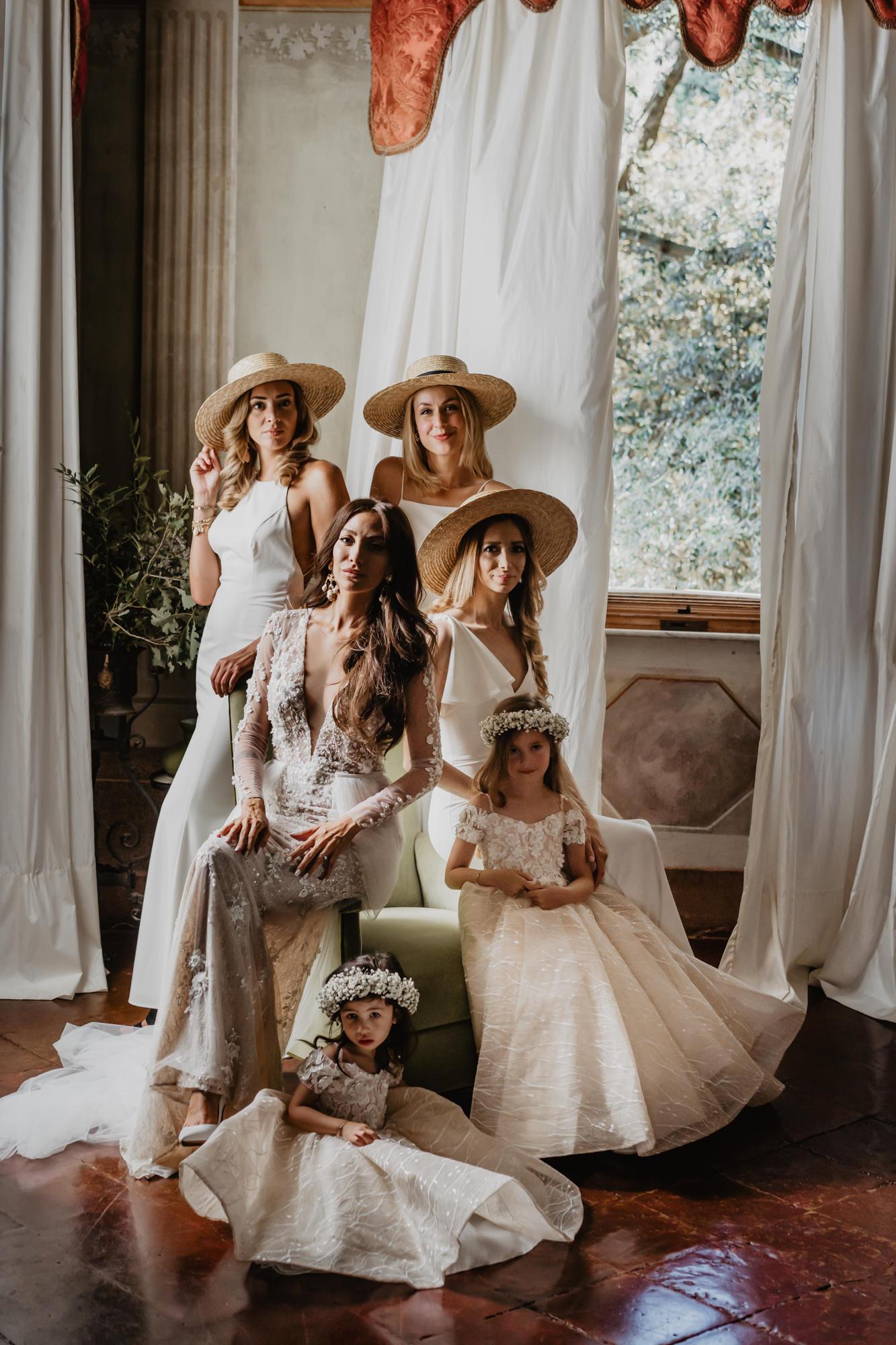 Elegant bridal party attire - photo by David Bastianoni