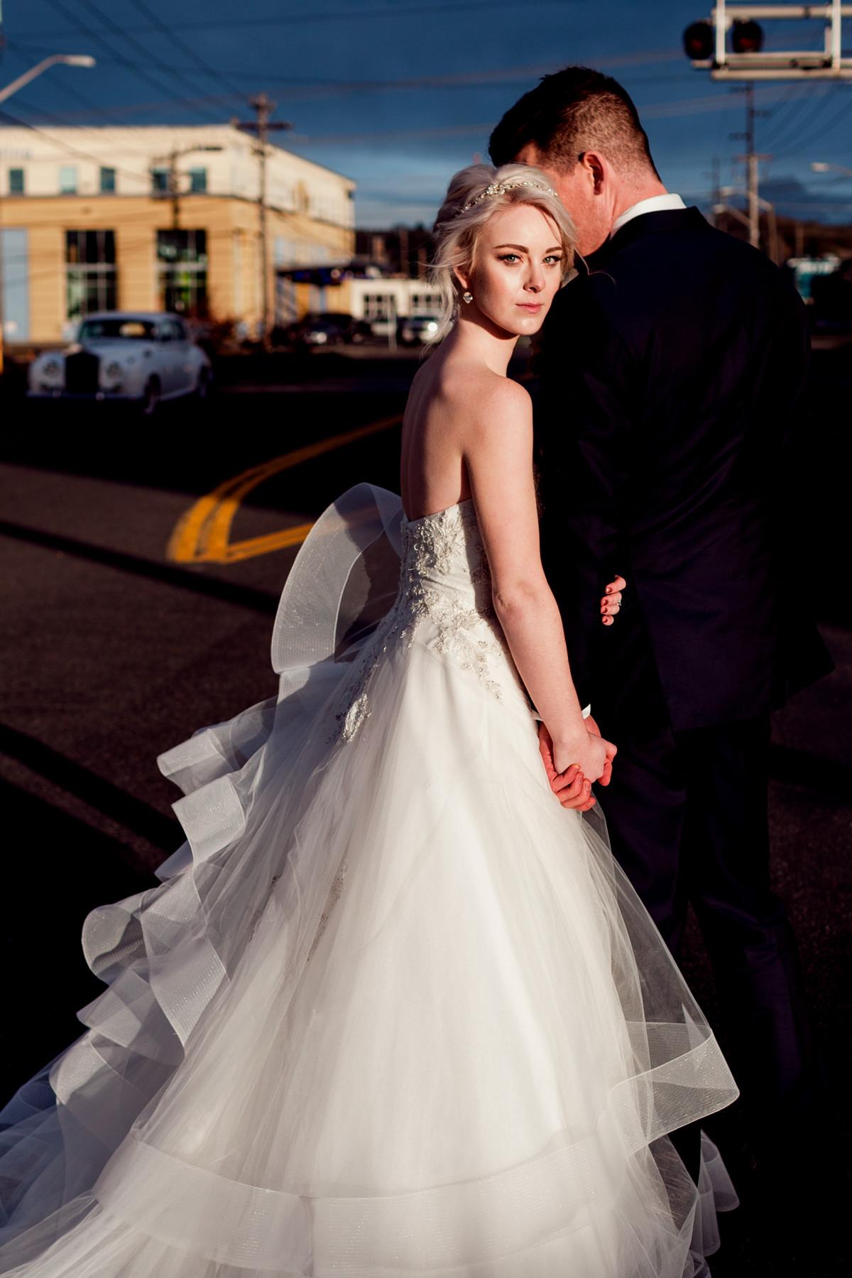 Sunlit portrait of blonde bride - photo by John and Joseph - Los Angeles