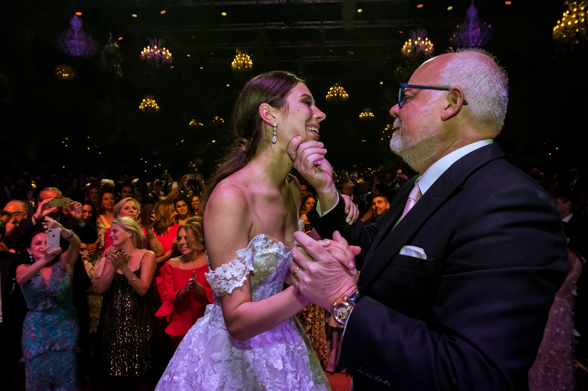 Sweet father holding bride's face during formal dance photo by Fotobelle: Isabelle Hattink