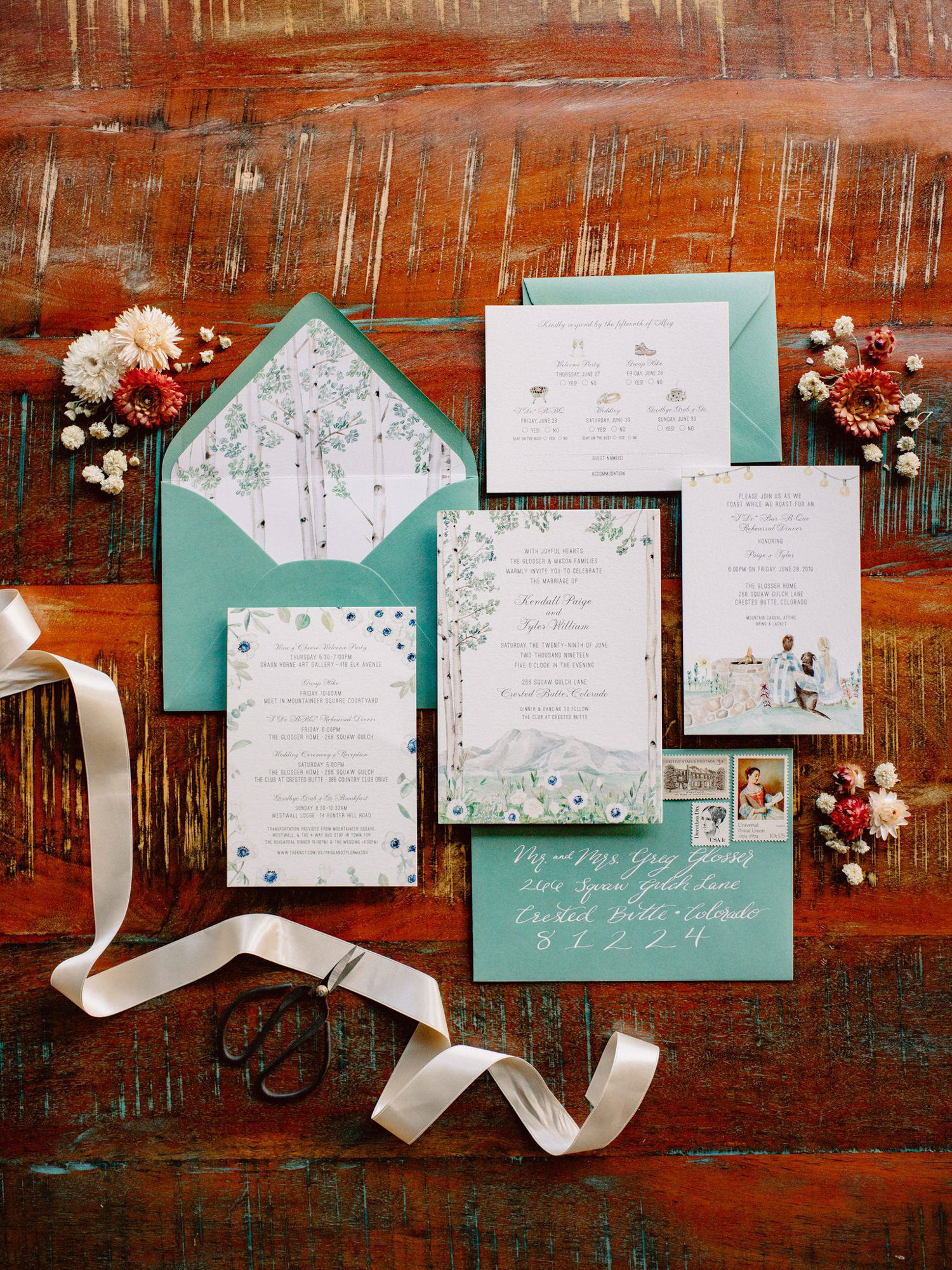 Floral teal invitations suite - Photo by Benj Haisch - Seattle