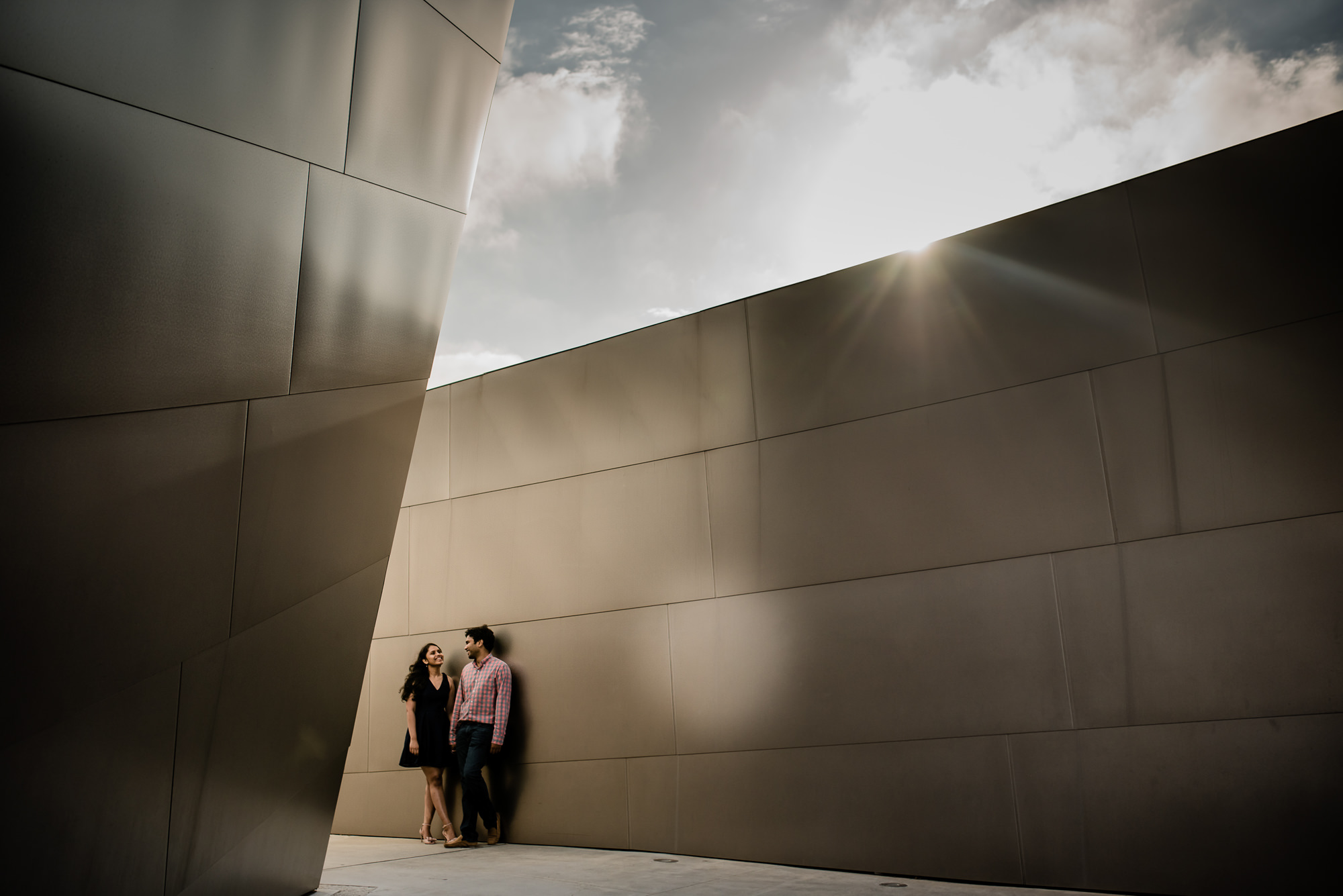 Urban architectural engagement portrait - photo by Rimi Sen Photography