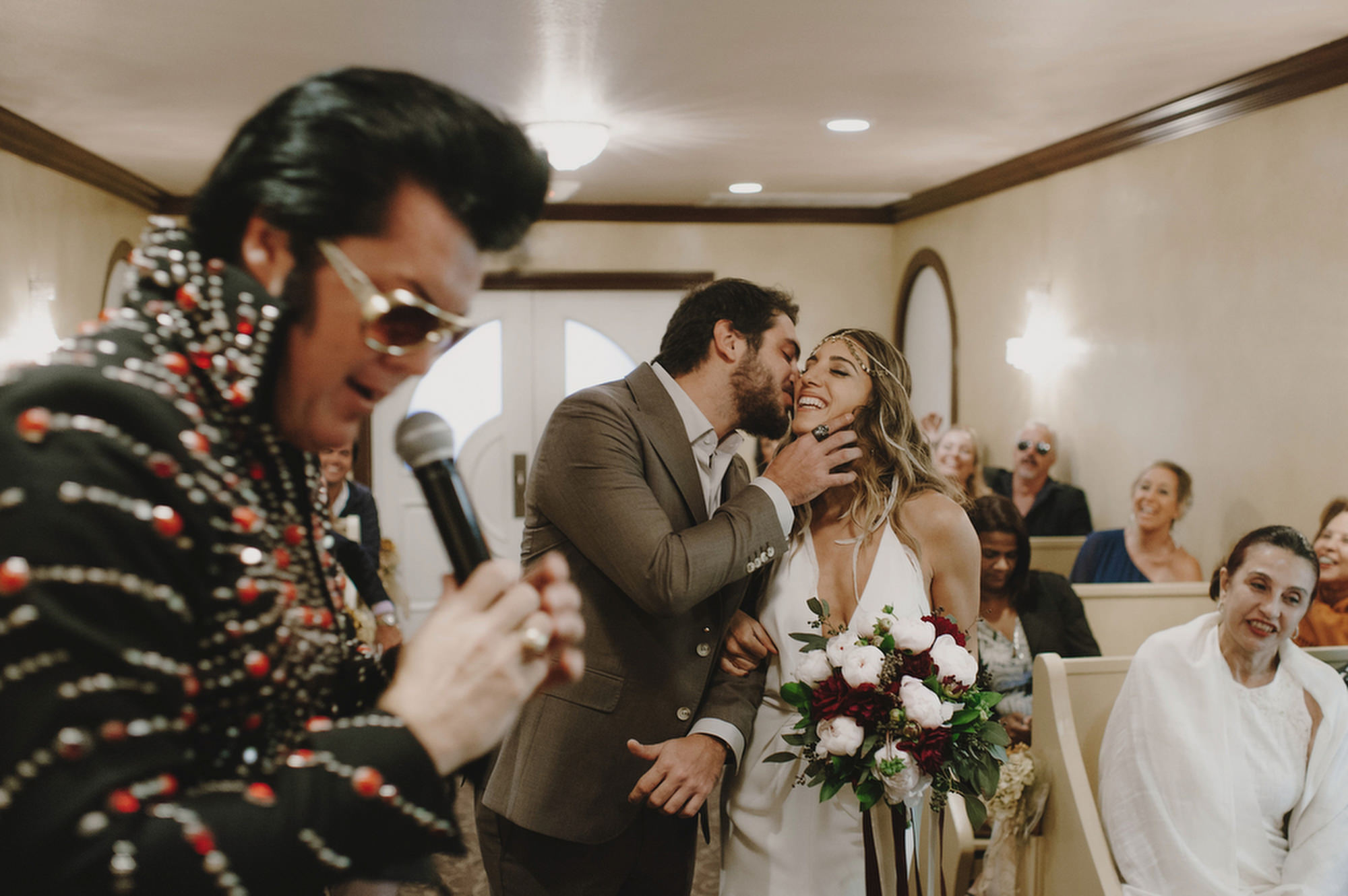 Vegas ceremony with Elvis - photo by Kristen Marie Parker