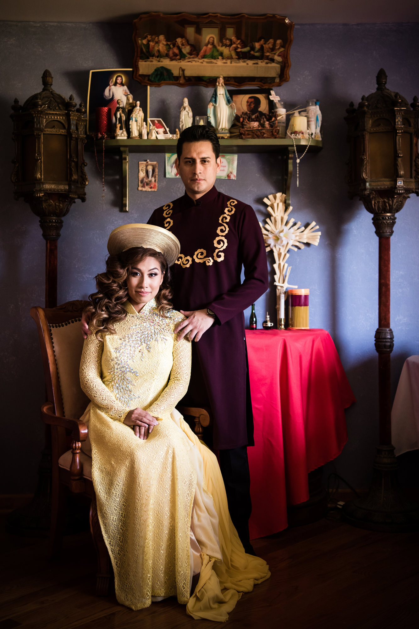 Bride and groom in traditional Vietnamese wedding attire, by Cliff Mautner