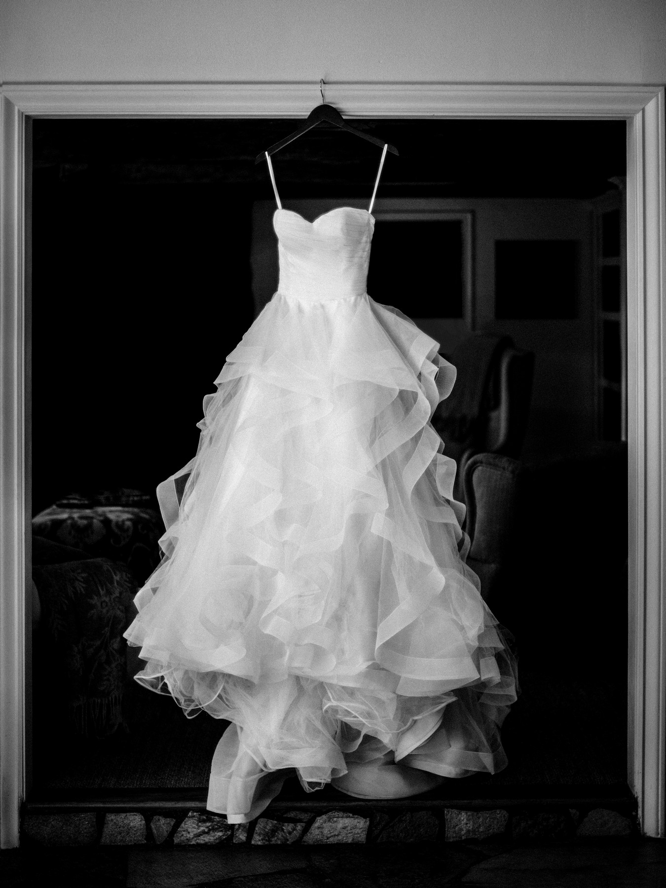 Ruffled straplless wedding dress - photo by John and Joseph - Los Angeles