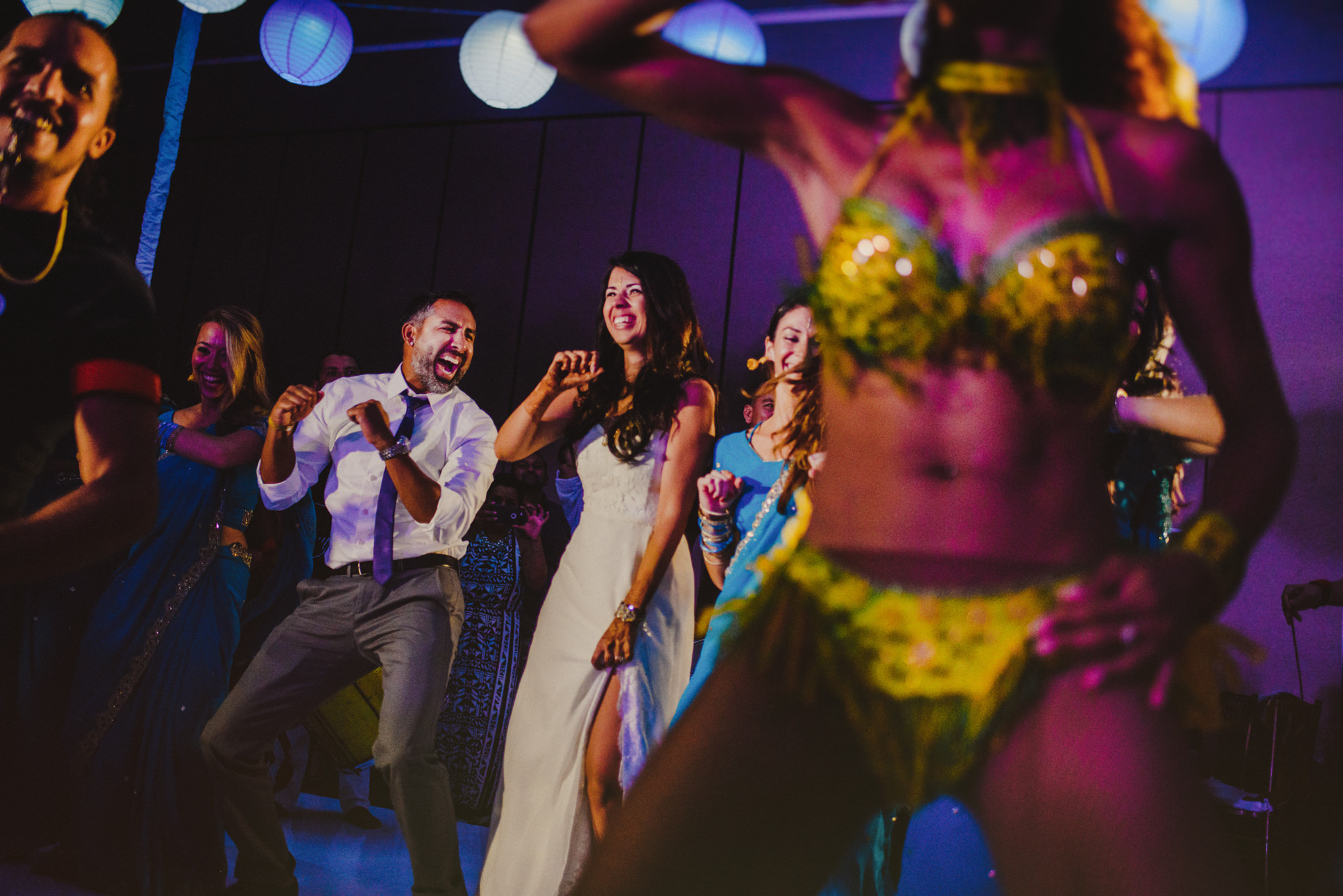 Wedding reception party with carnival dancers - photo by Fer Juaristi