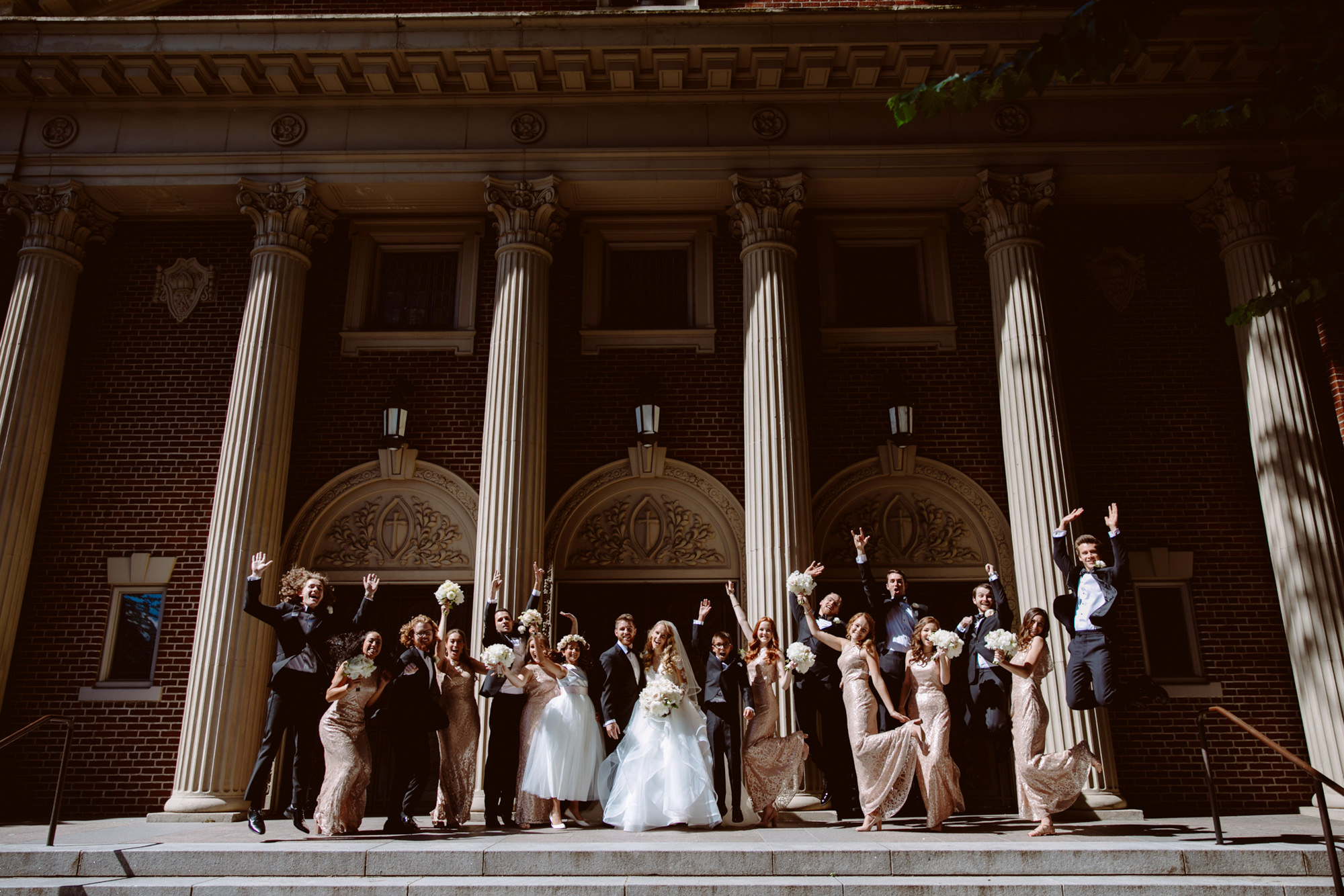 Fun bridal party portrait cathedral - Jessica Hill Photography