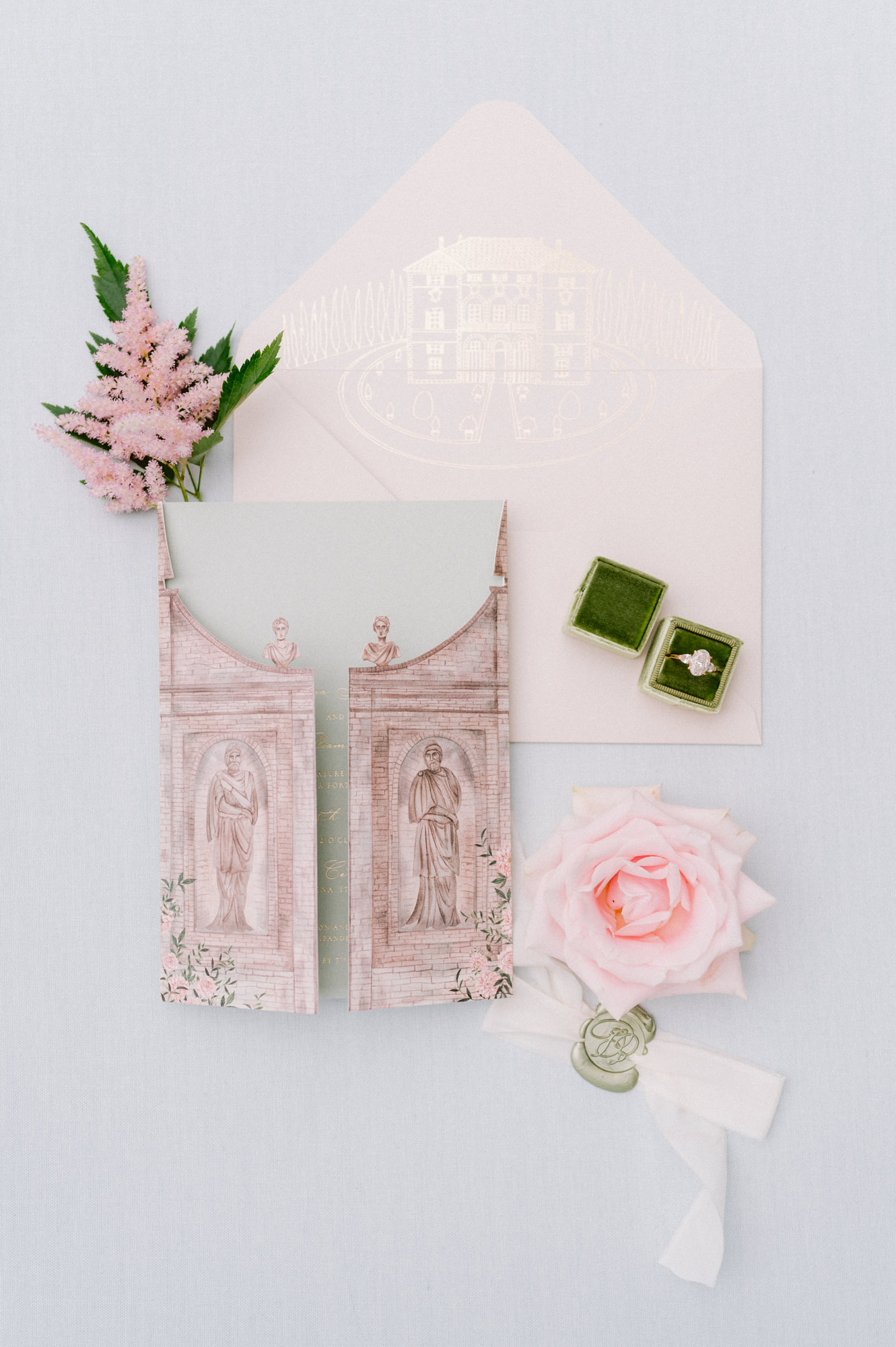 Hand-painted pink invitations for Villa Cimbrone - photo by Gianluca Adovasio Photography