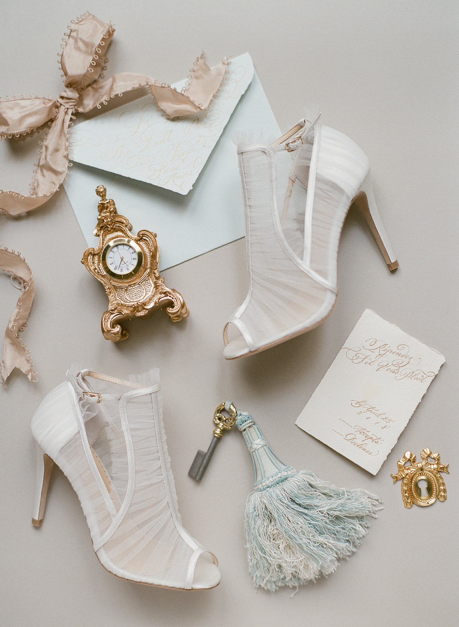 Sheer white sandals with ribbon accent - photo by Gianluca Adovasio Photography