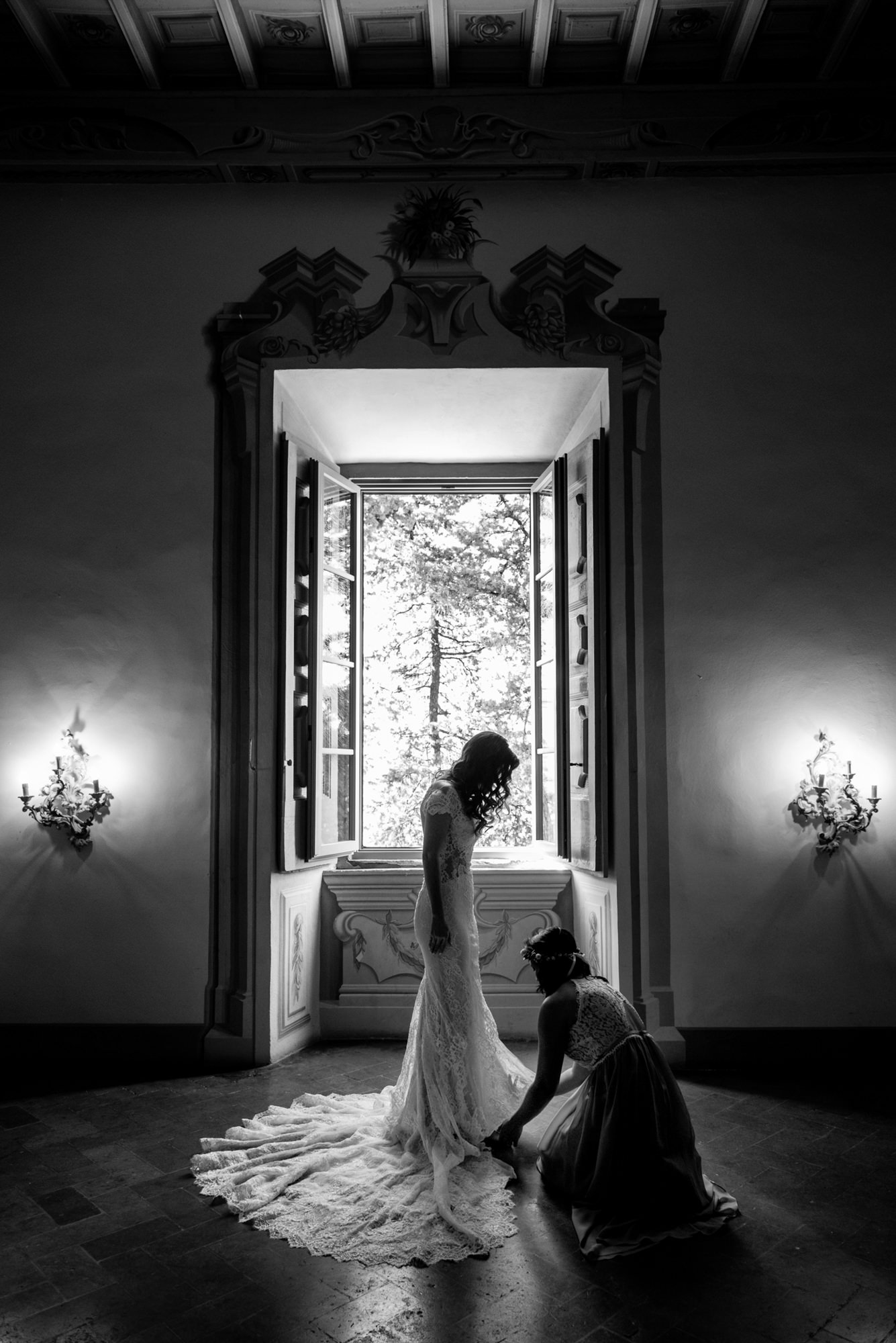 Silhouette bride in lace gown - Morgan Lynn Photography