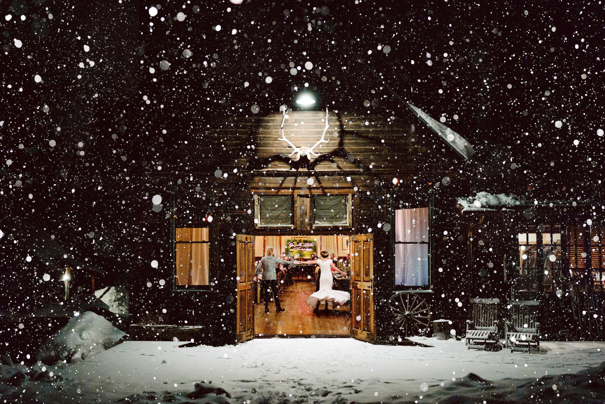 First dance in barn on snowy night - Photo by Benj Haisch - Seattle