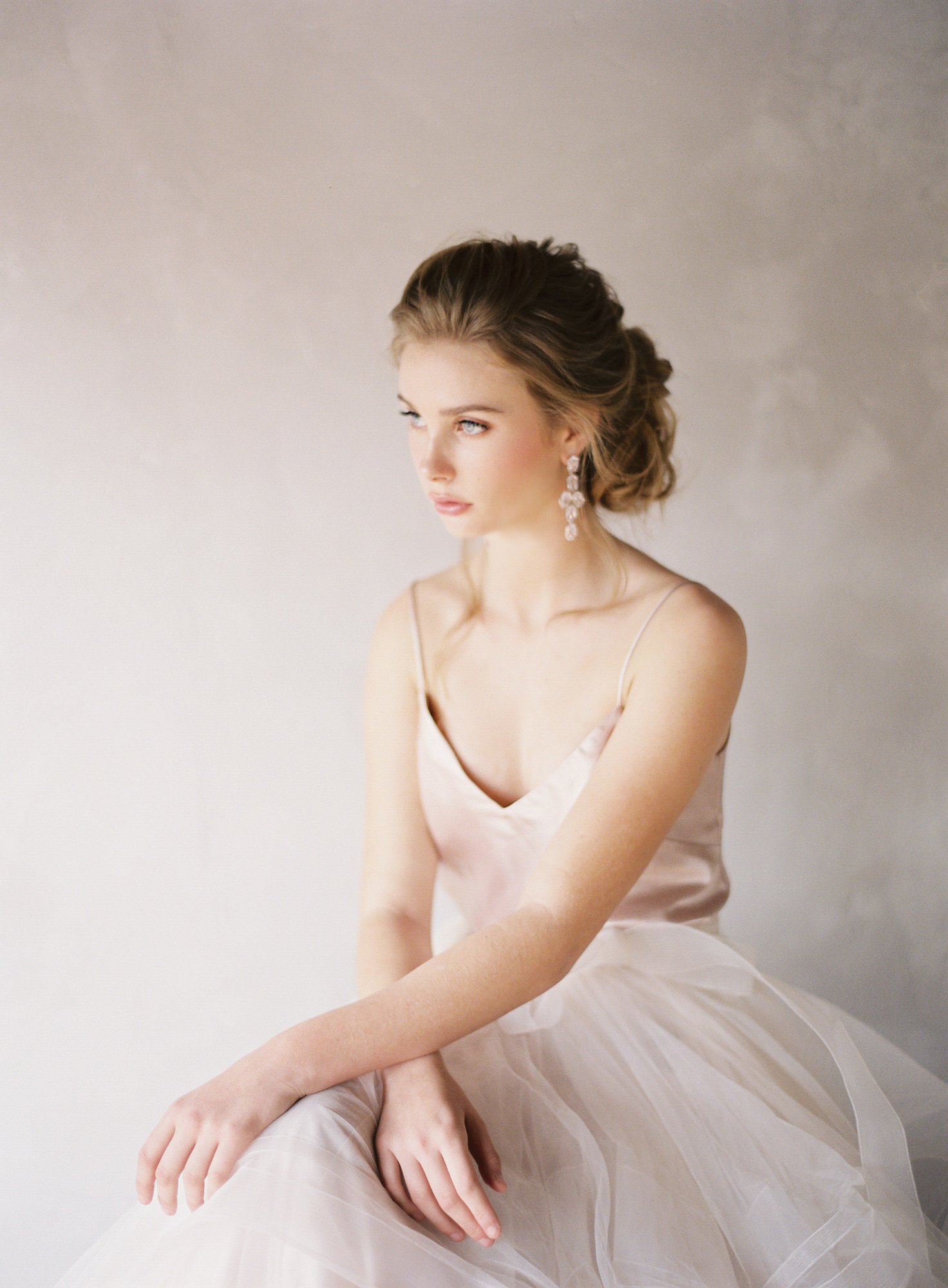 bride with blush silk chemise tulle skirt Jen Huang Los Angeles wedding photographer