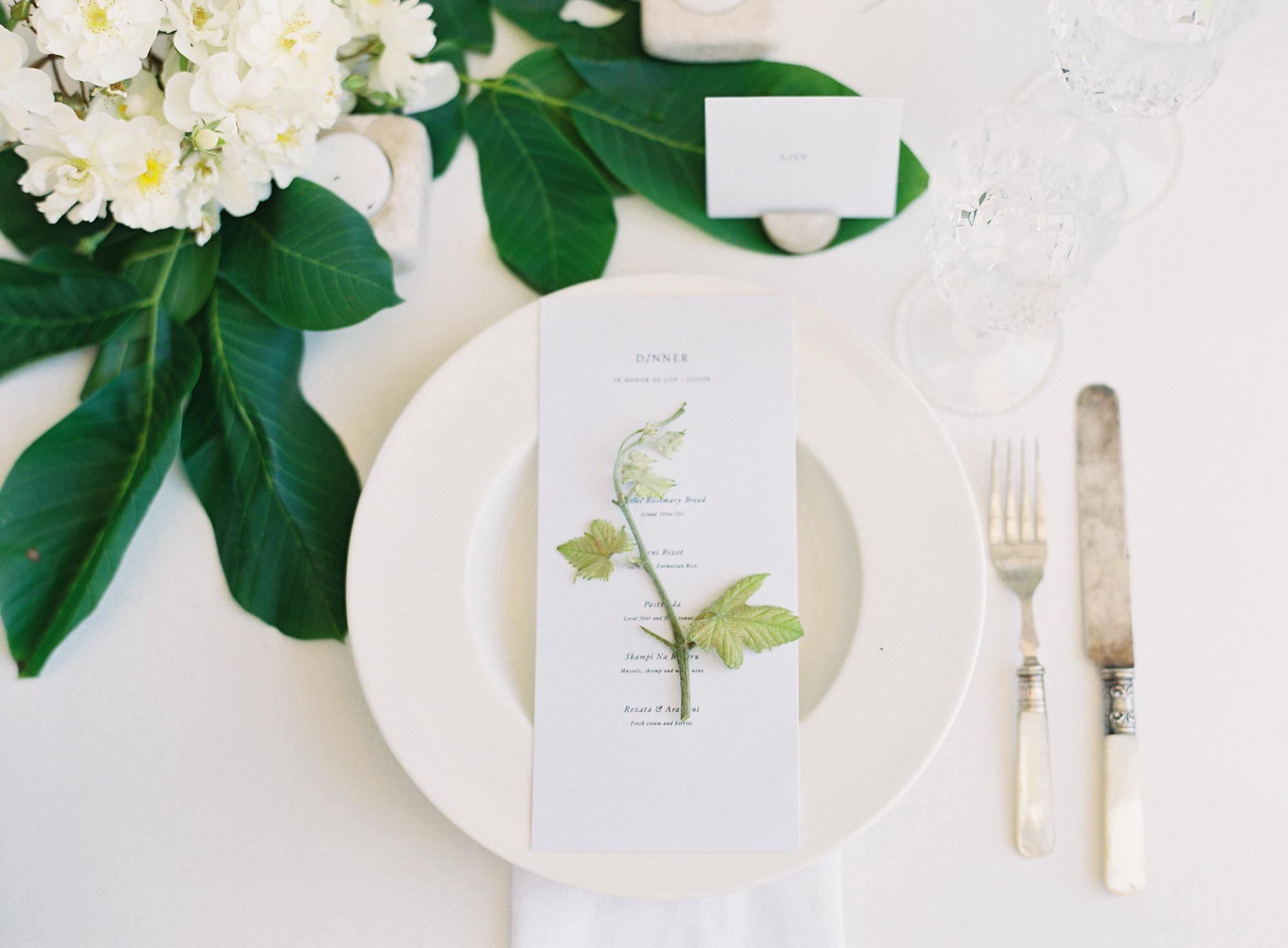 dinner menu ivory laurel accents Jen Huang Los Angeles wedding photographer