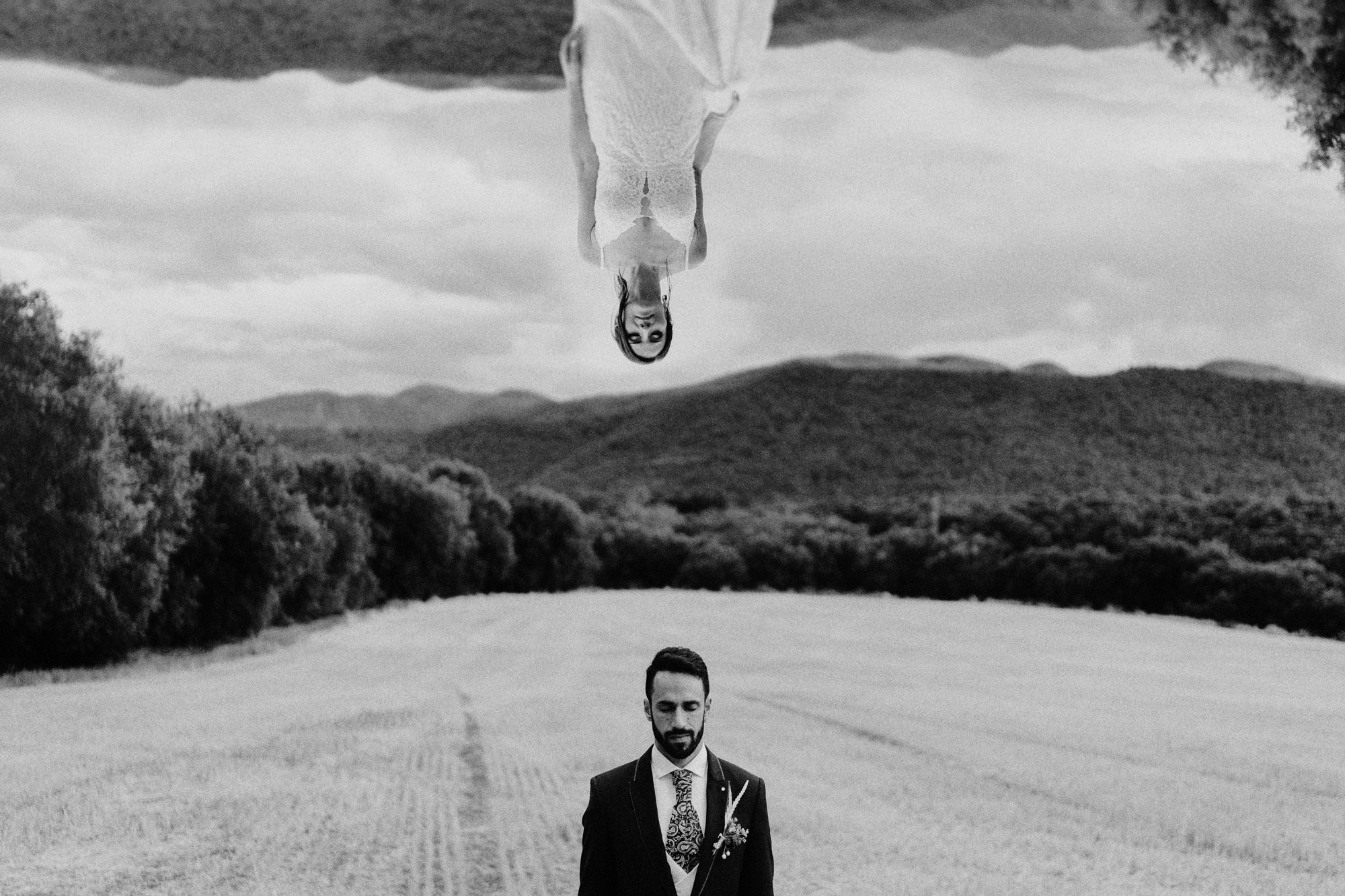 Composite photo with bride upside down by Fer Juaristi