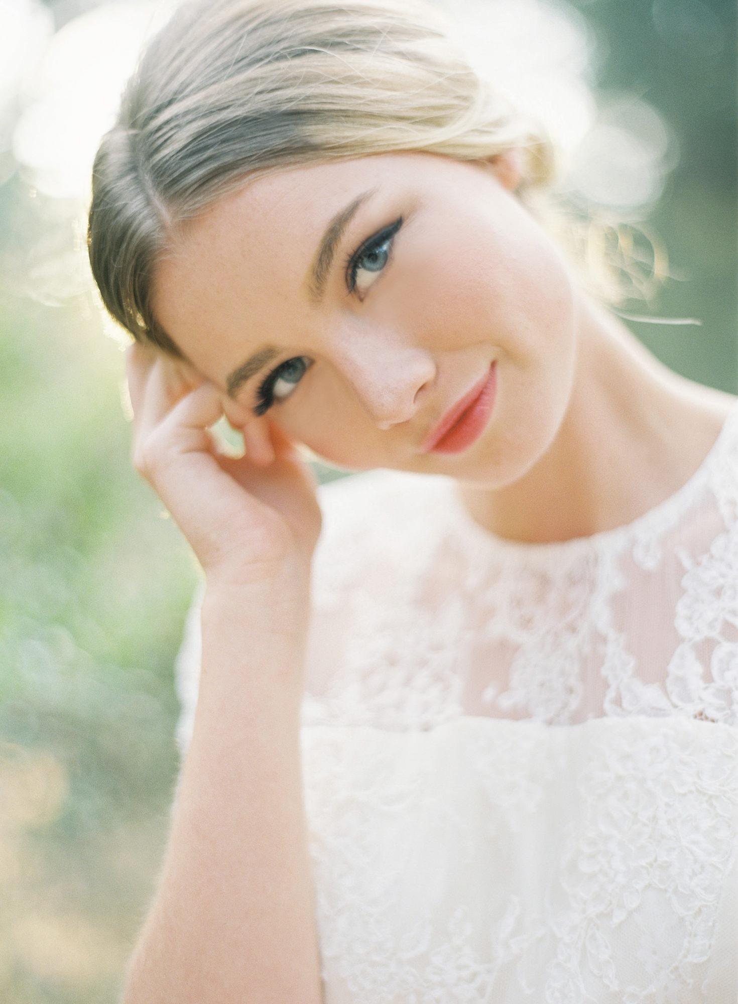 film bridal portrait blonde bride lace collar wedding dress Jen Huang Los Angeles wedding photographer
